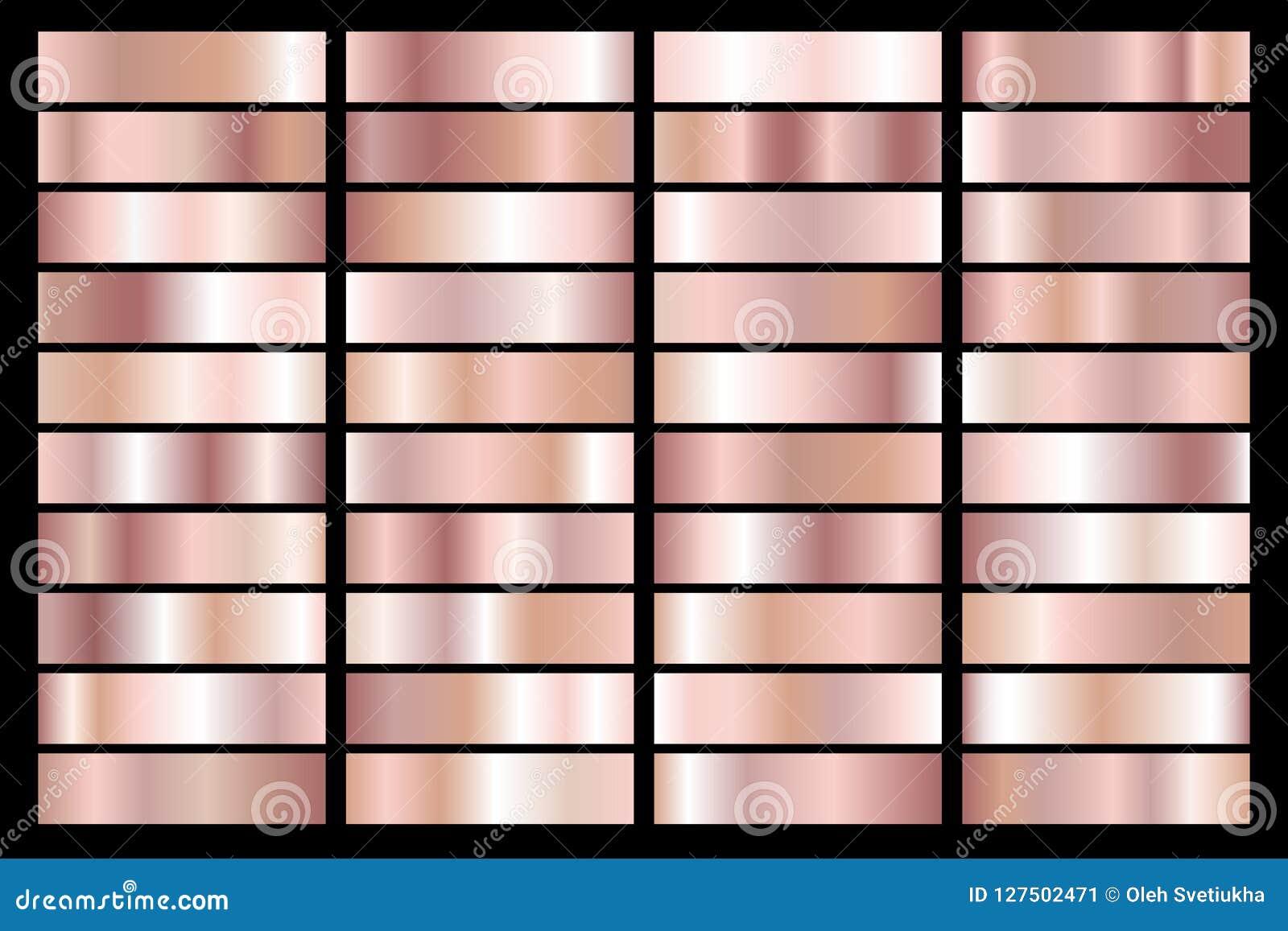 Colección de pendiente metálica del oro color de rosa Placas brillantes con efecto de oro Ilustración del vector