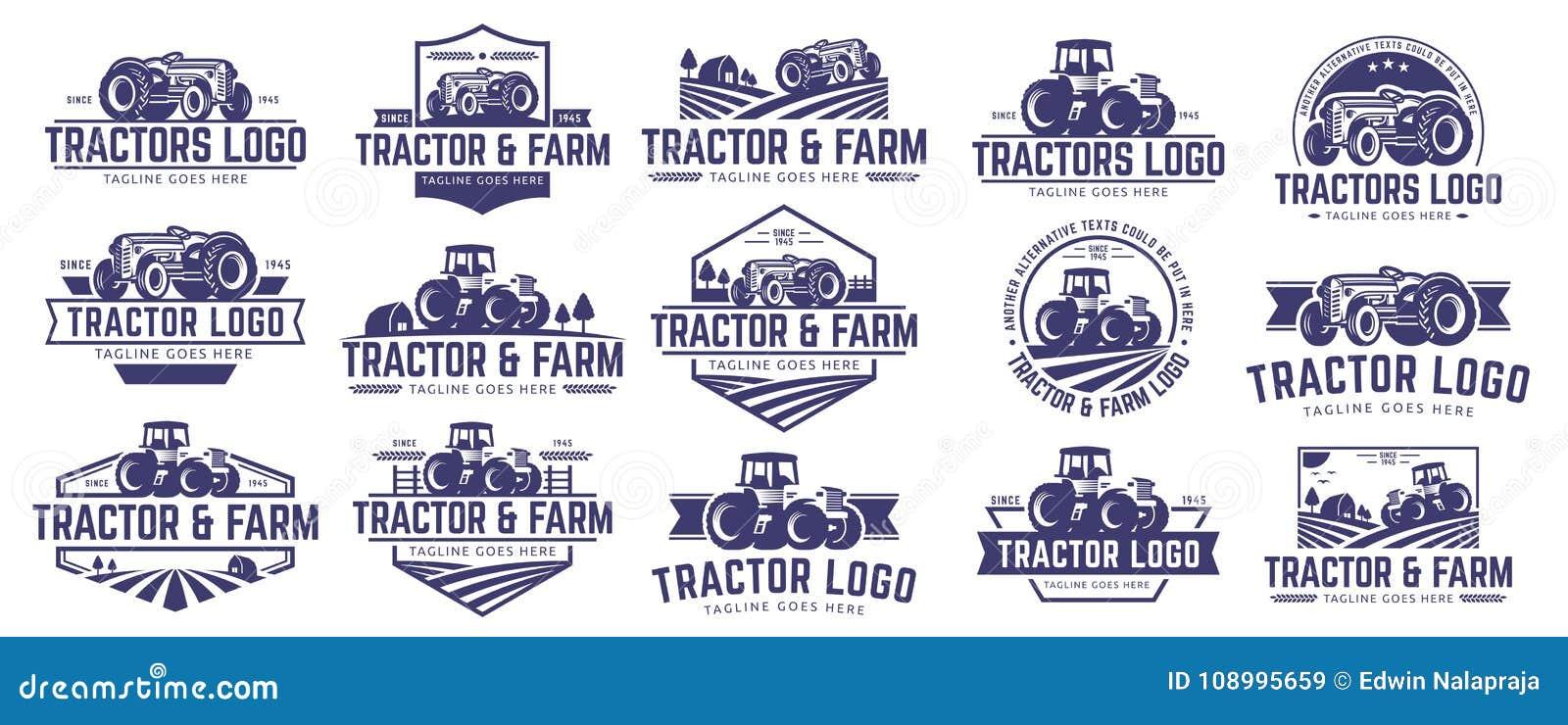 Colección de plantilla del logotipo del tractor y de la granja, sistema del vector, paquete del vector
