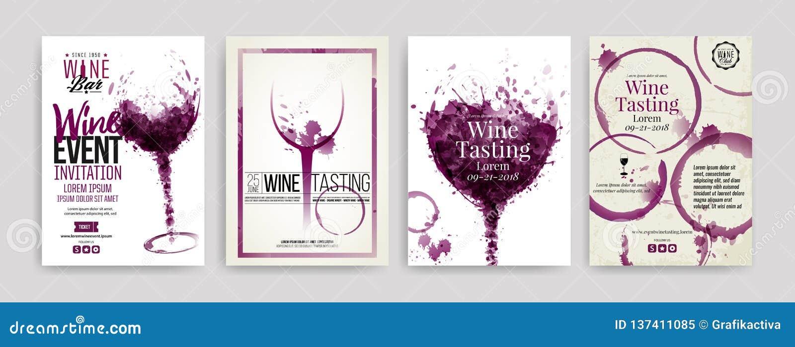 Colección De Plantillas Con Diseños Del Vino Folletos