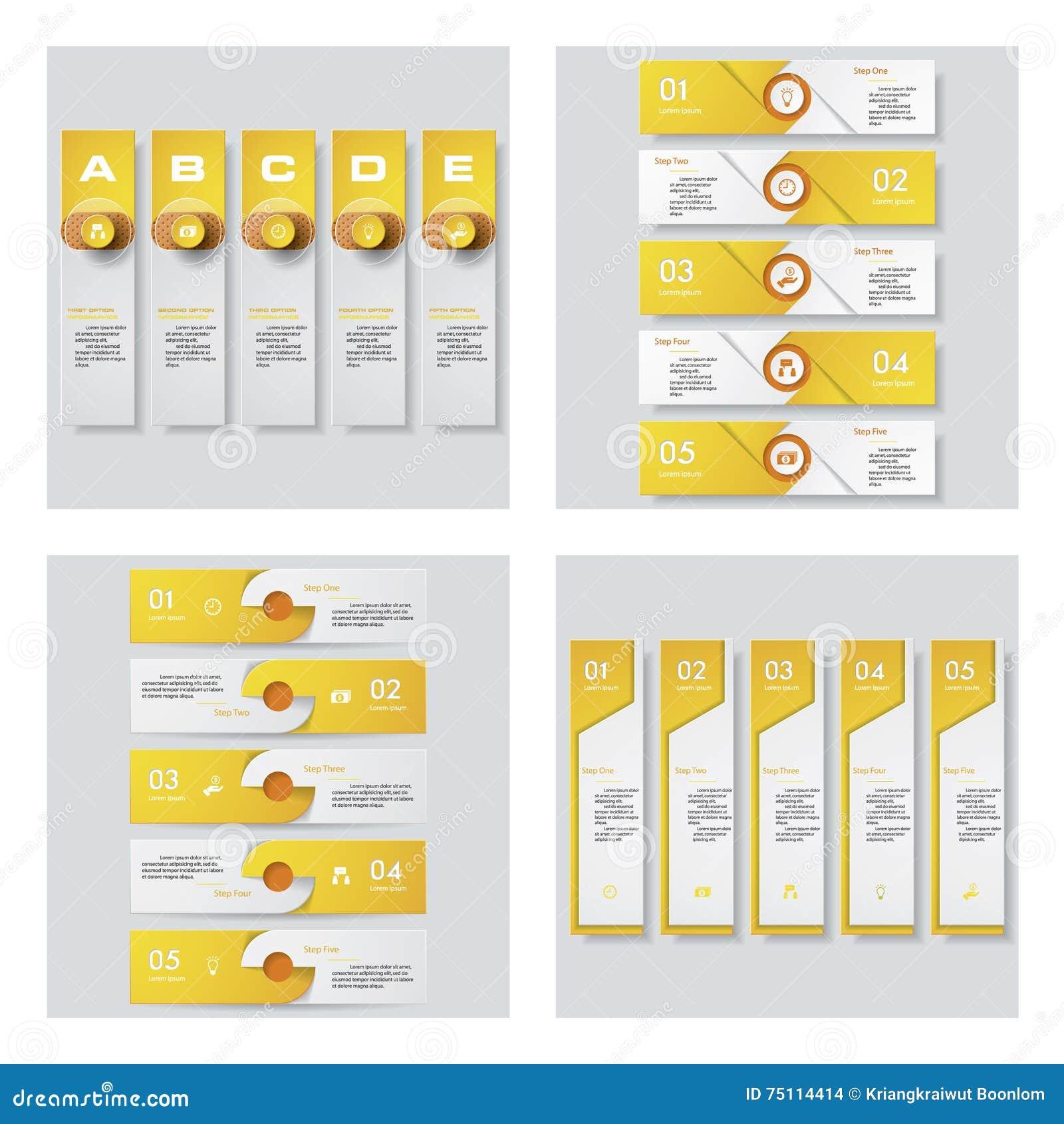 Colección de 4 plantillas del color/gráficos o disposiciones amarillos del sitio web Fondo del vector