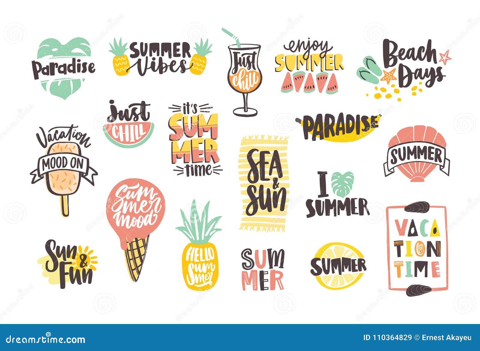 Colección de poner letras coloreado brillante del verano manuscrito con las fuentes caligráficas y adornado con las frutas tropic