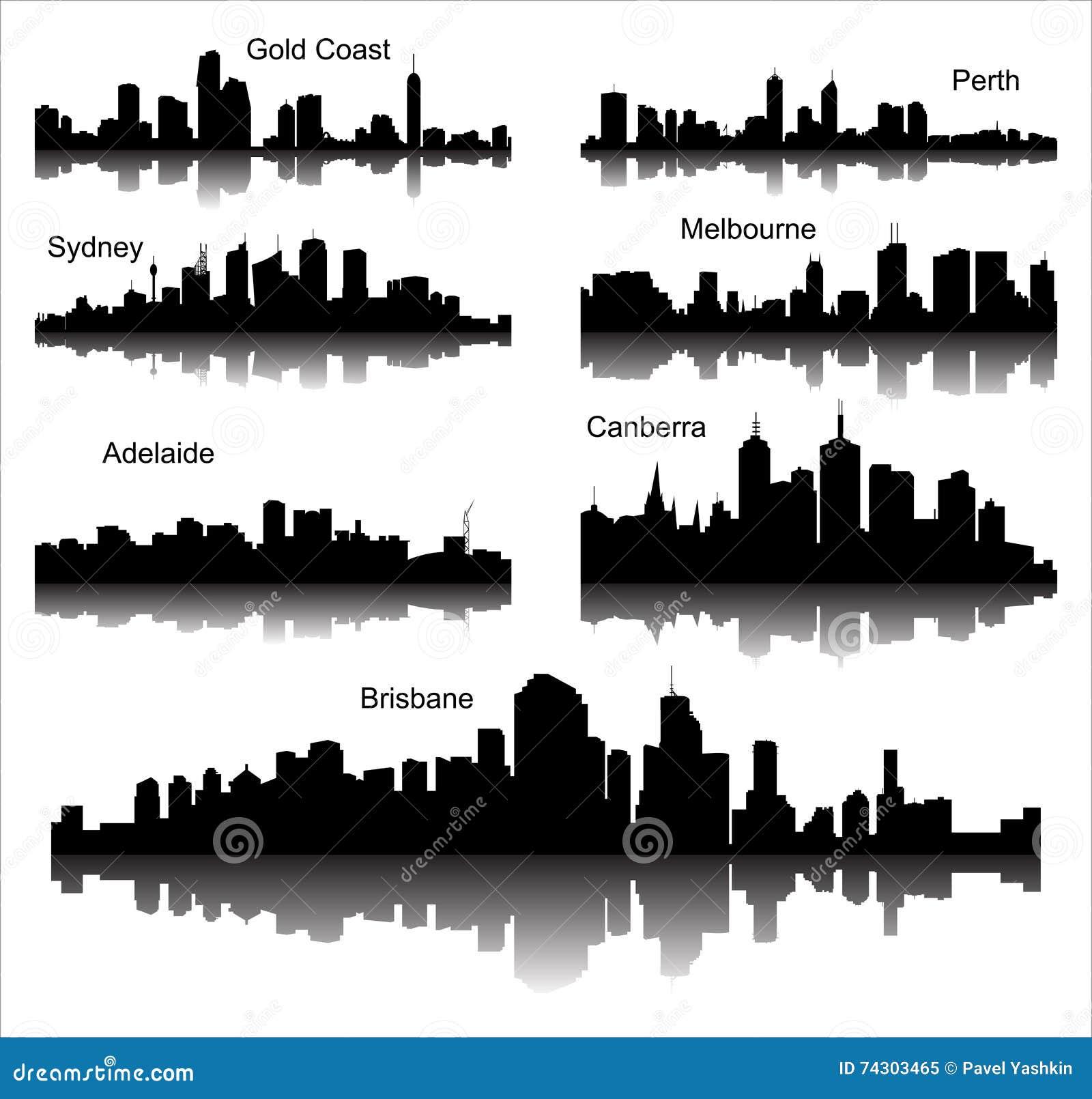 Colección de siluetas detalladas del vector de ciudades australianas