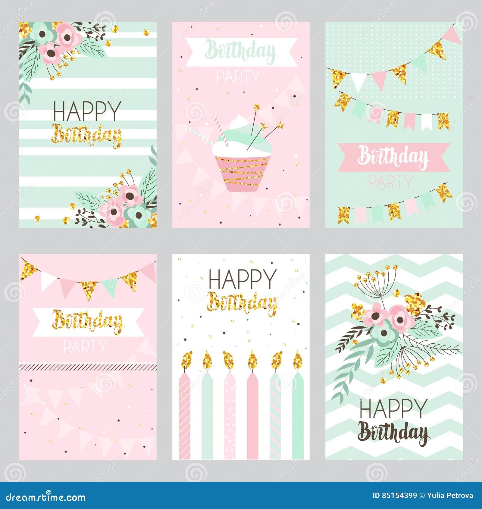 Colección De Tarjetas De Cumpleaños En Colores En Colores