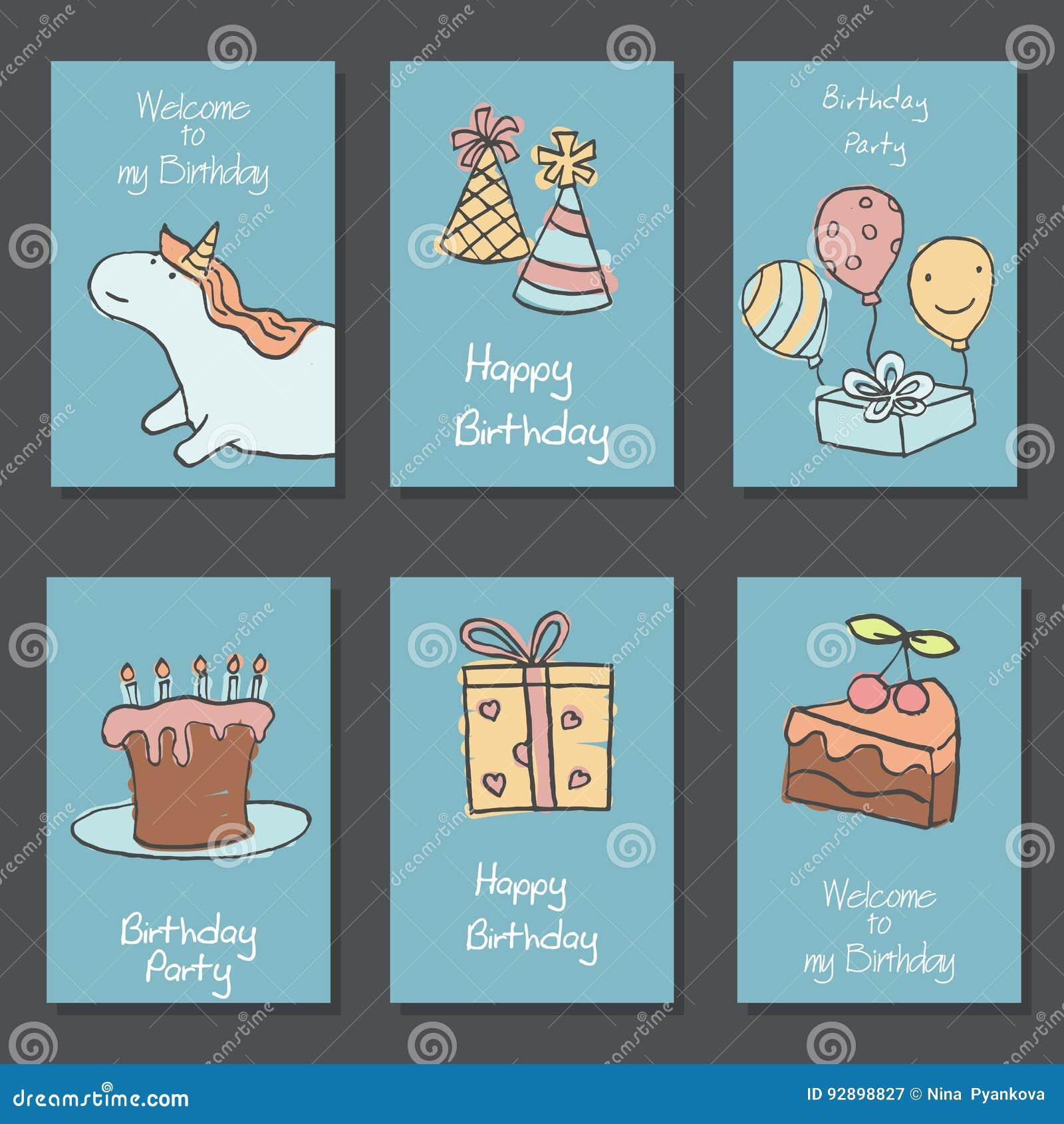 Colección de tarjetas de cumpleaños lindas