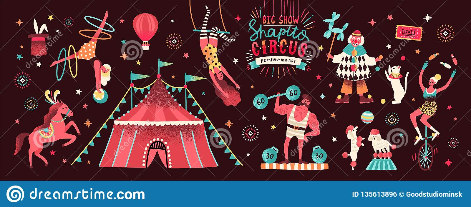 Colección de tienda de circo y de ejecutantes divertidos de la demostración - payaso, dictador, acróbatas, animales entrenados, a