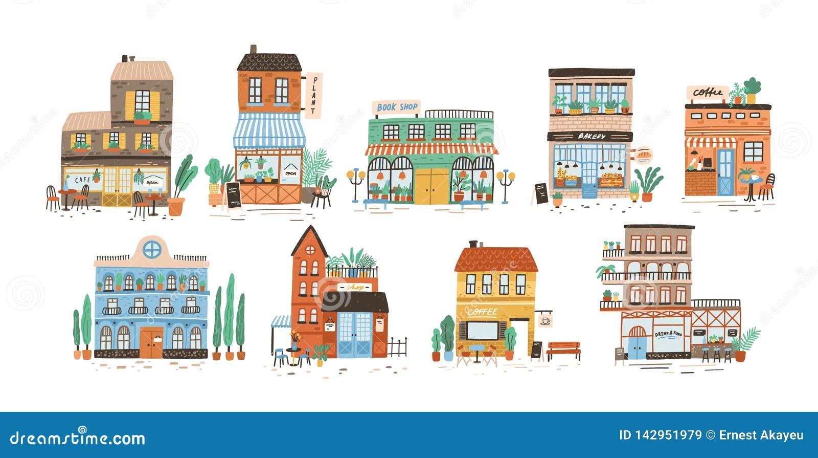 Colecci?n de tiendas, tiendas, caf?, restaurante, panader?a, caf? aislado en el fondo blanco Paquete de edificios encendido