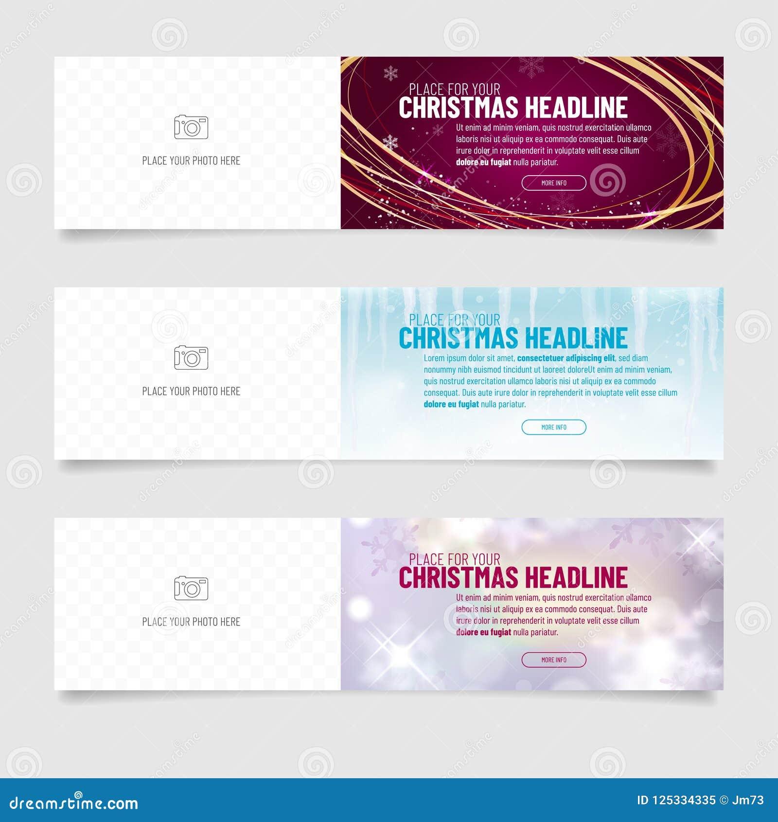 Colección de tres banderas del web con backgrou abstracto de la Navidad