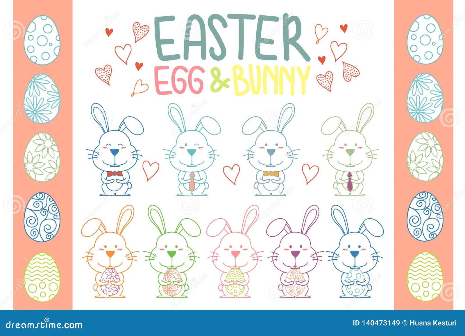Colección de vector del conejito y del huevo de pascua