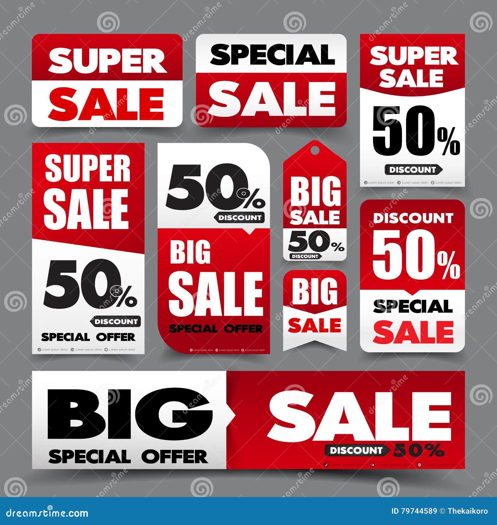 Colección de venta roja y blanca básica de la promoción de la bandera de la etiqueta del web