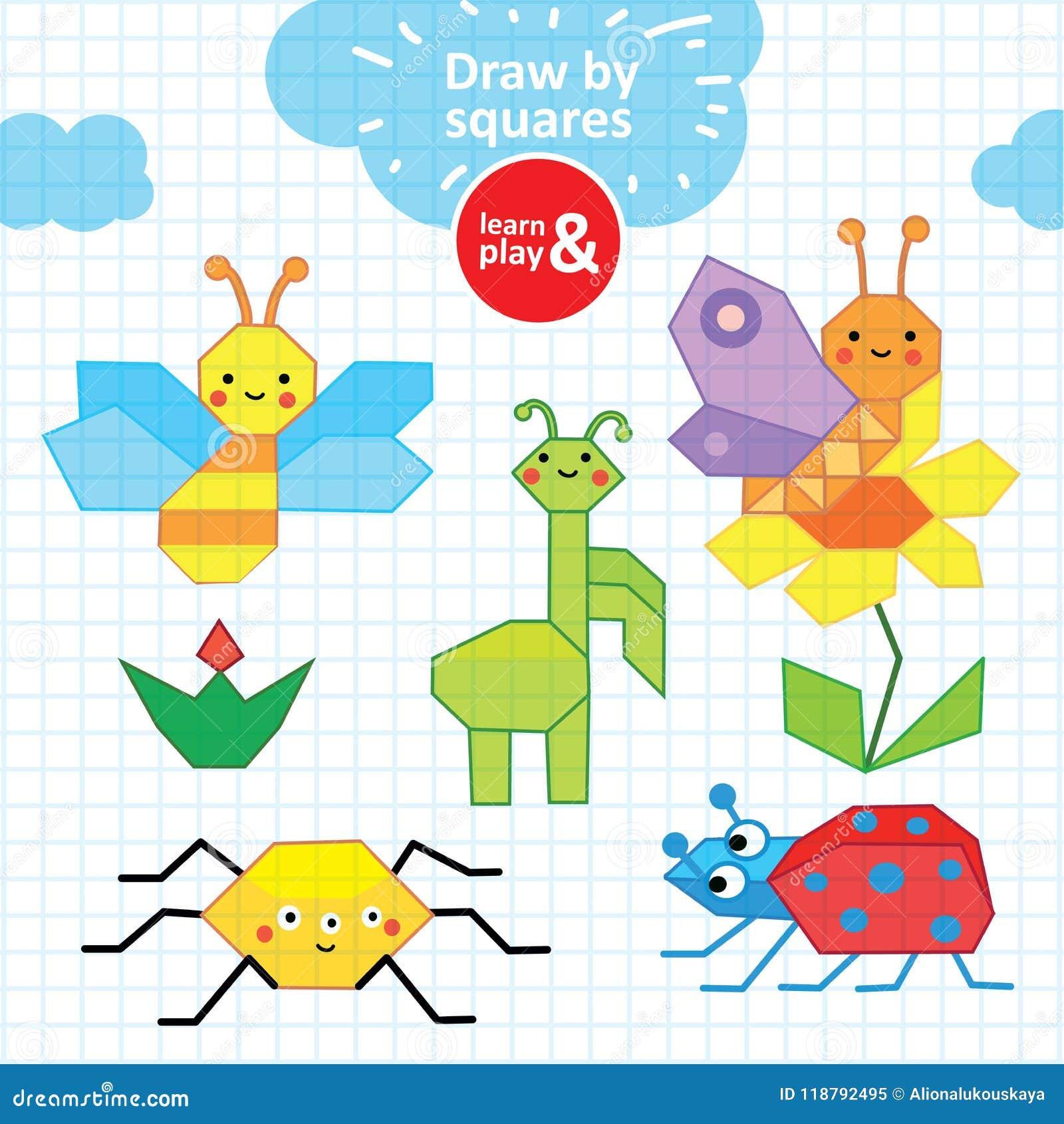 Dibujos Con Cuadros.Coleccion De Verano De Insectos Encierre El Dibujo De Los Ninos S En