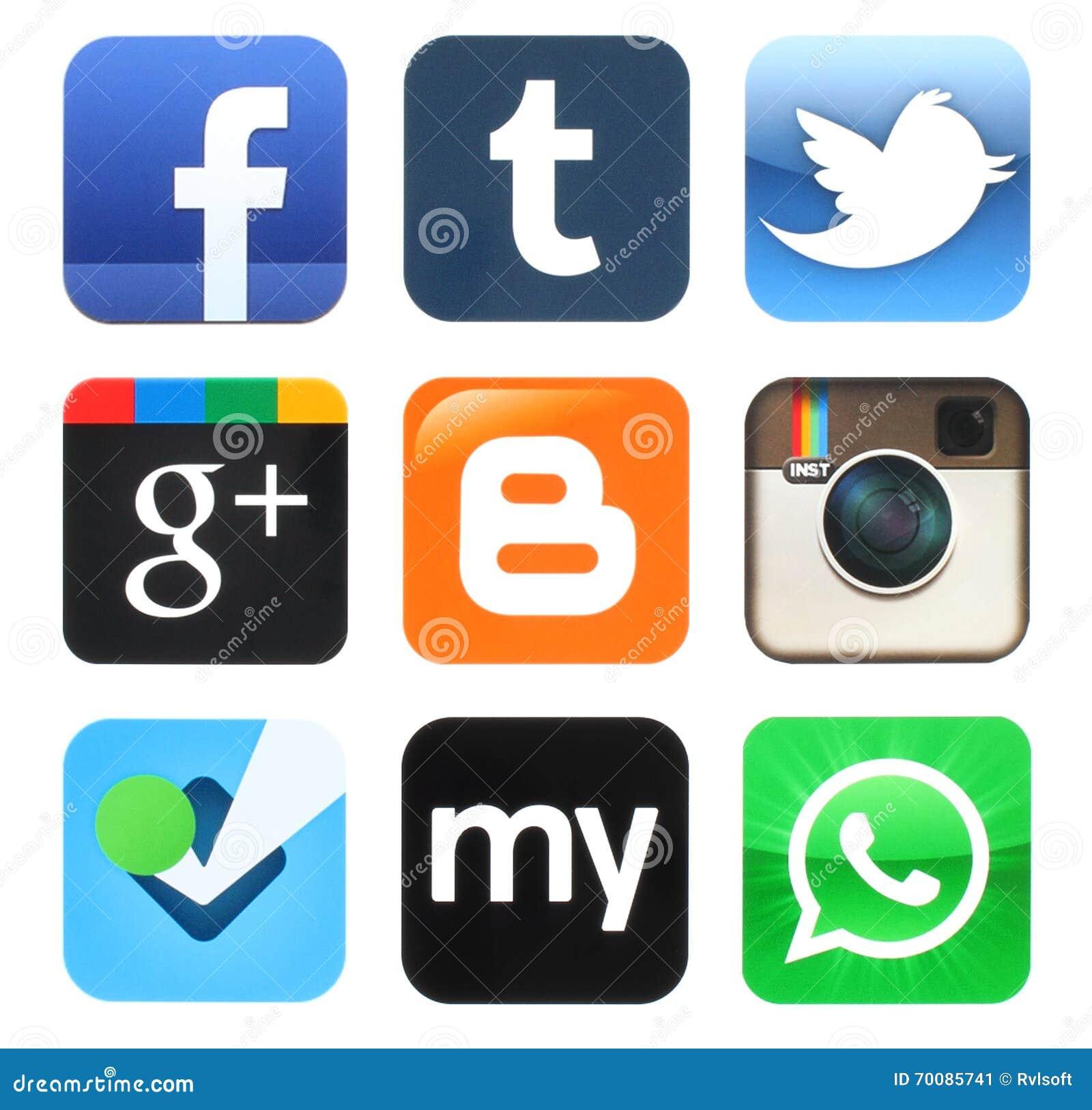 Colección de viejos medios iconos sociales populares