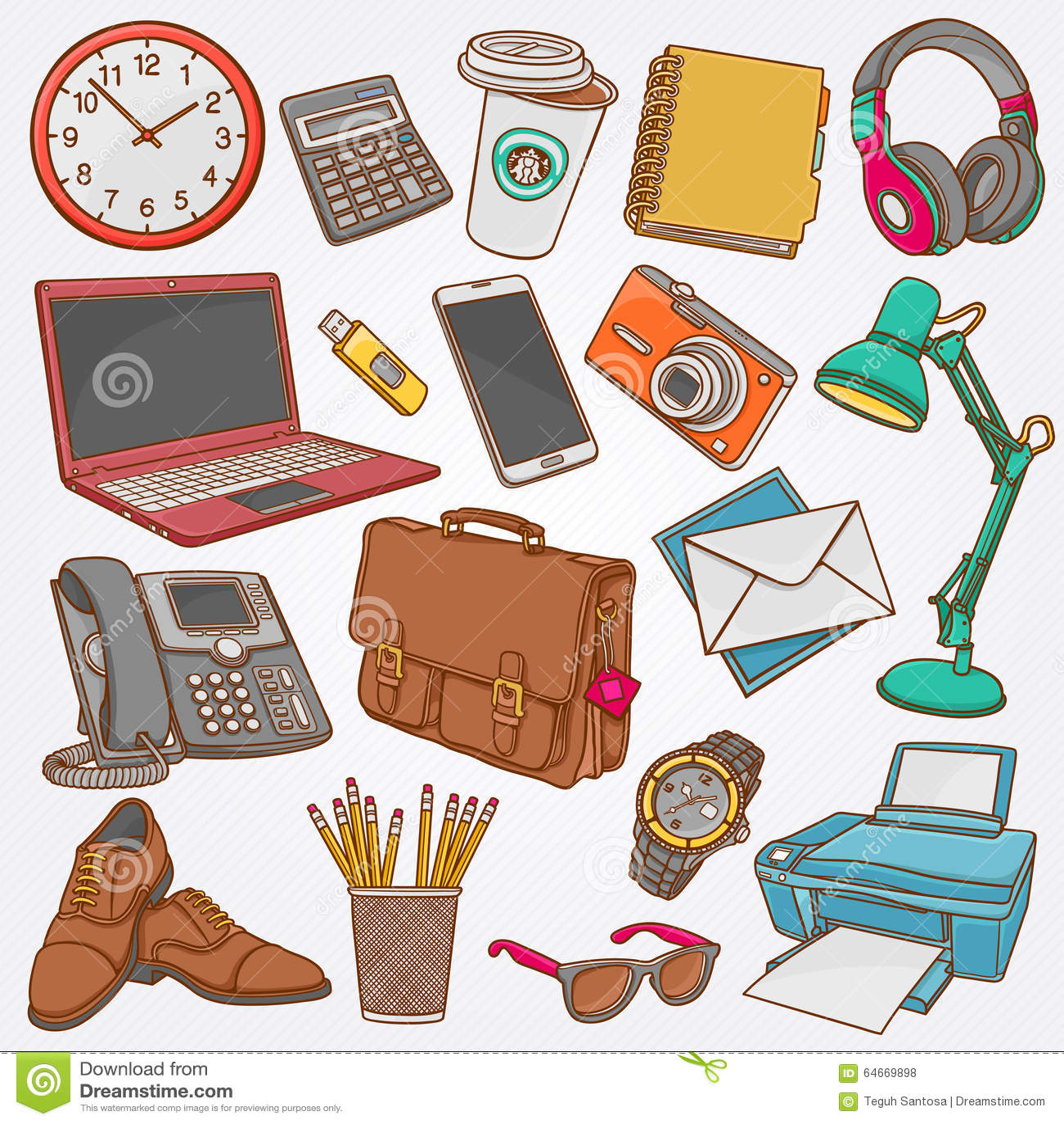 Colecci n del ejemplo del vector de garabatos dibujados for Imagenes de articulos de oficina