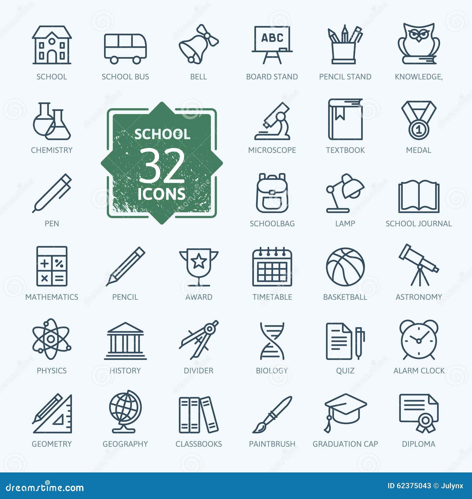 Colección del icono del esquema - escuela