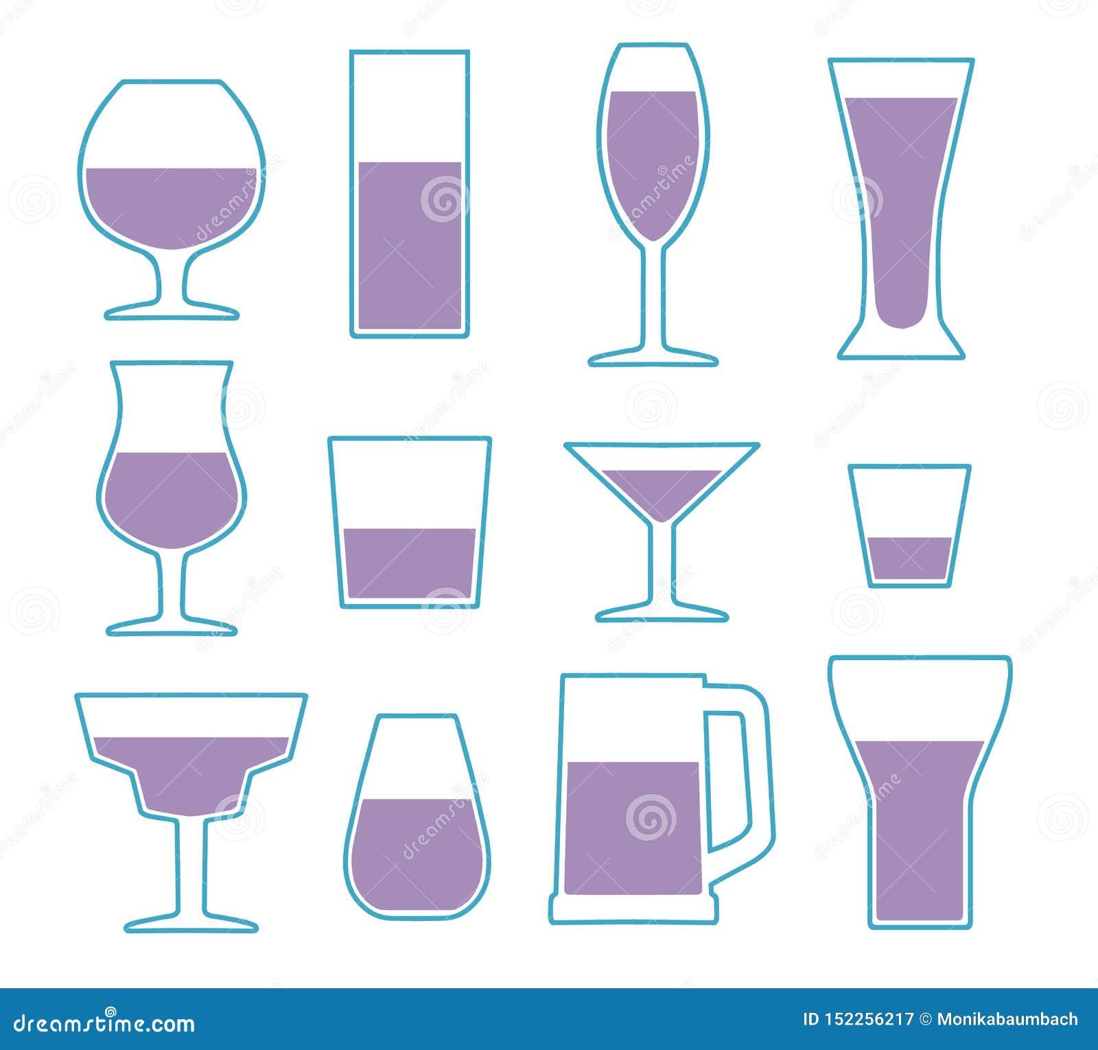 Colección del icono del vector fijada con diversos tipos de cristal simples de consumición