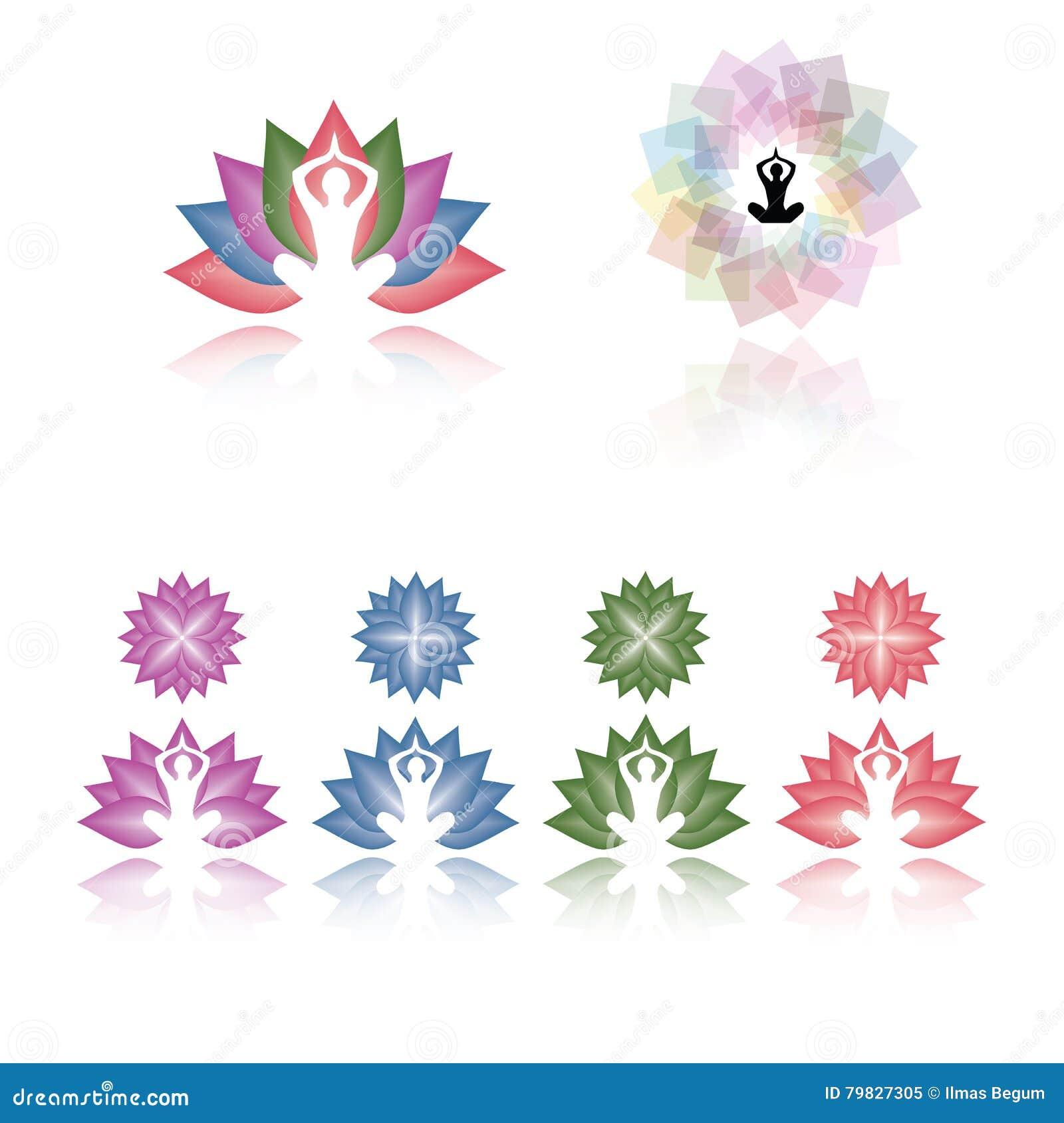 1cbb5464507d Arte del ejemplo de la diversa yoga coloreada de la flor de Lotus aislada  en el vector blanco eps10 del fondo