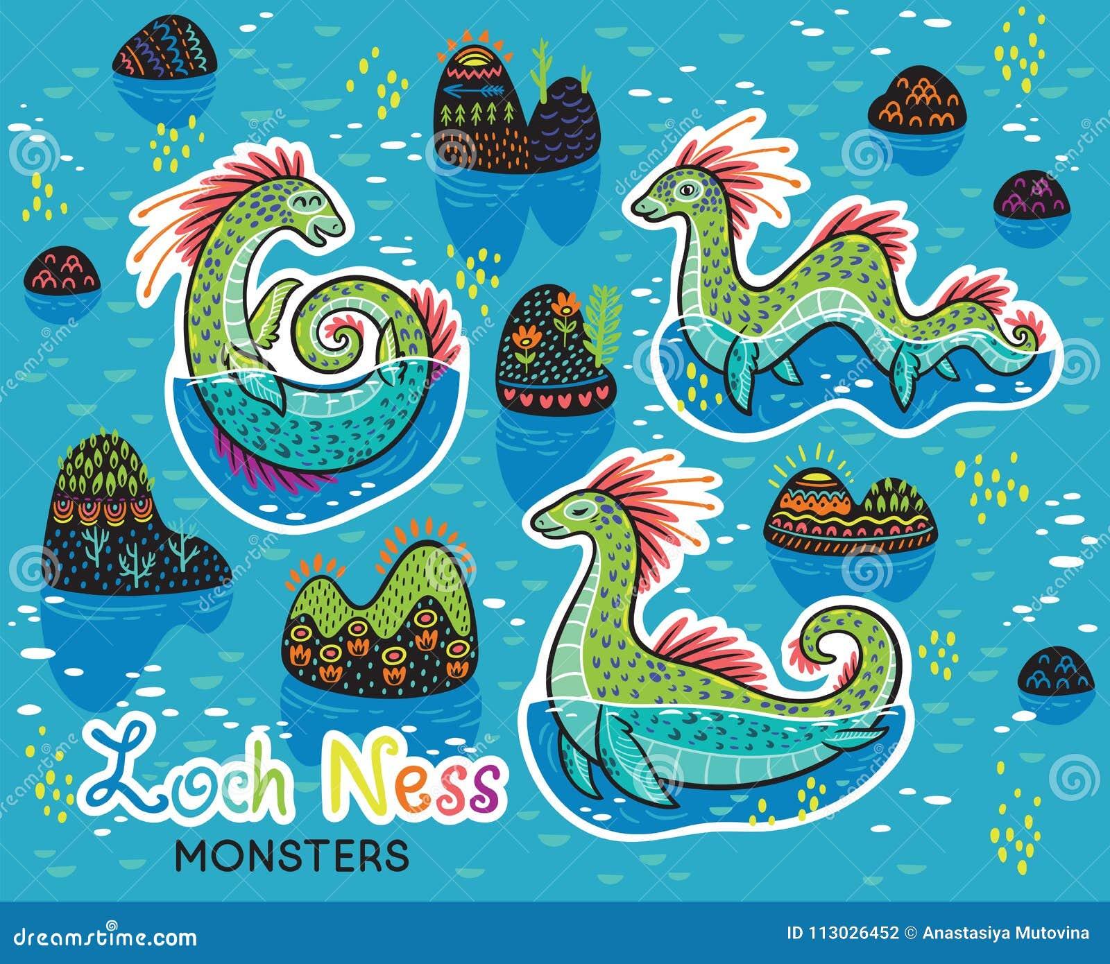Colección del remiendo de los animales de lago Ness Monsters en estilo de la historieta Etiquetas engomadas de la diversión del v