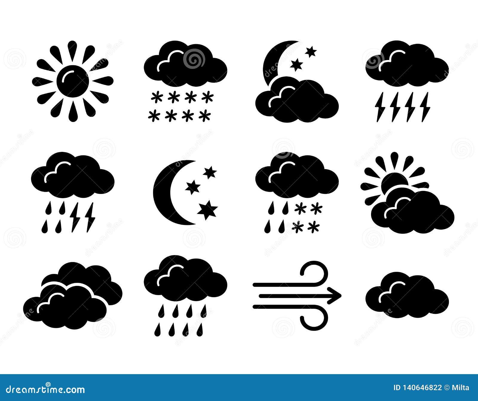 Colección del símbolo de la previsión metereológica Icono plano fijado por días soleados, lluviosos, nublados Meteo negro y blanc