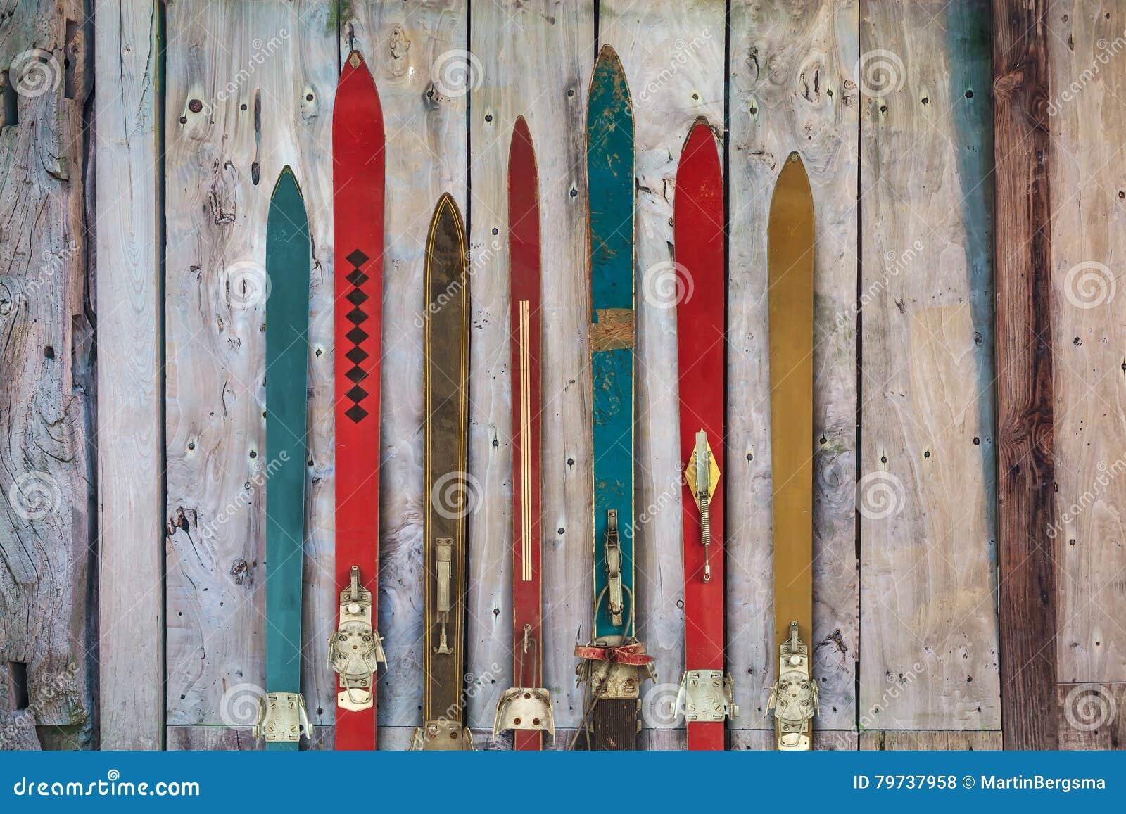Colección del ski& resistido de madera x27 del vintage; s