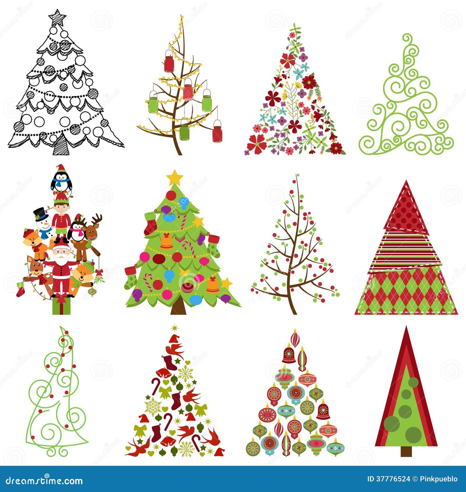 Colecci n del vector de rboles de navidad estilizados for Fotos arbol navidad