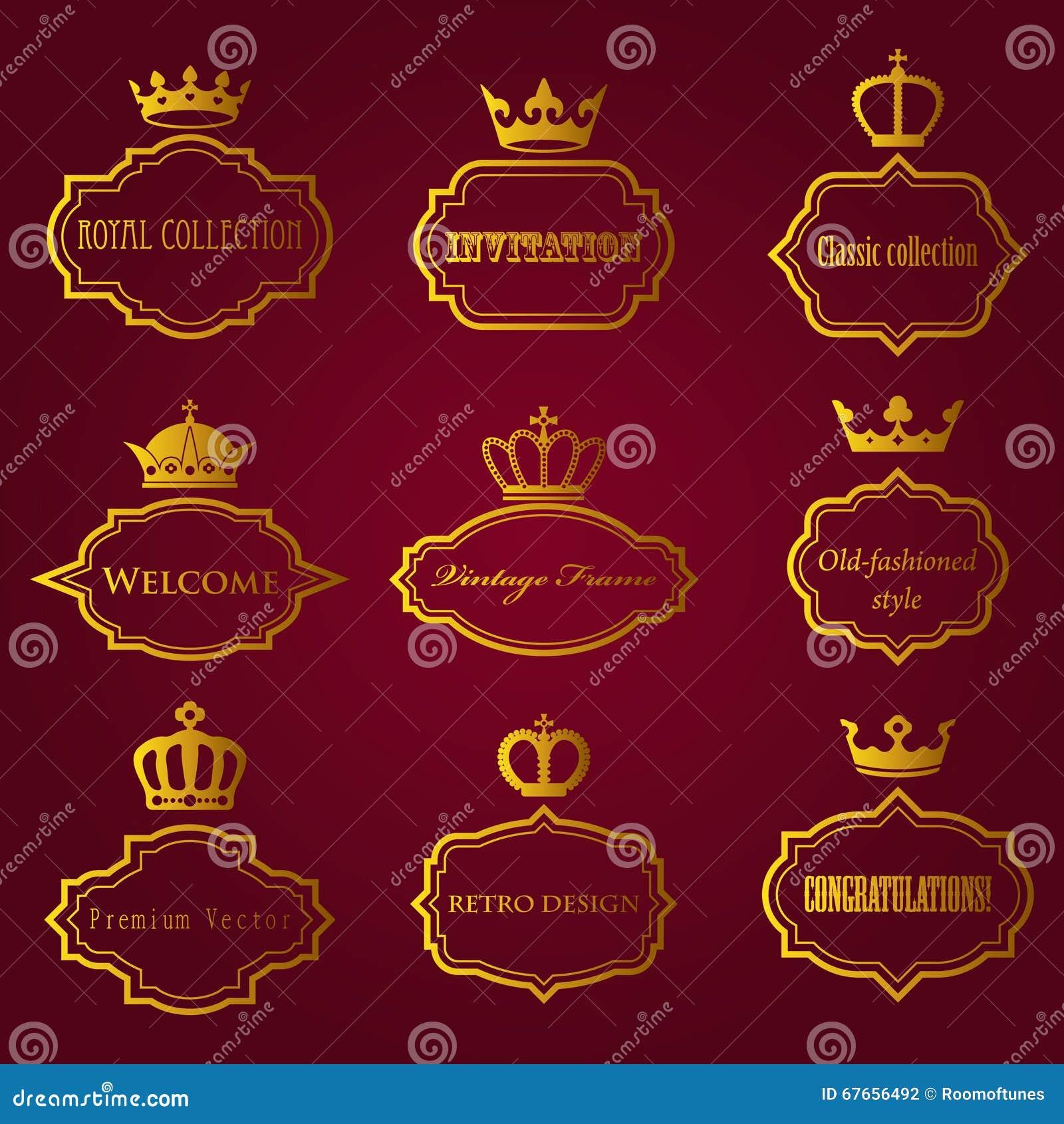 Colección del vector de bastidores retros con las coronas