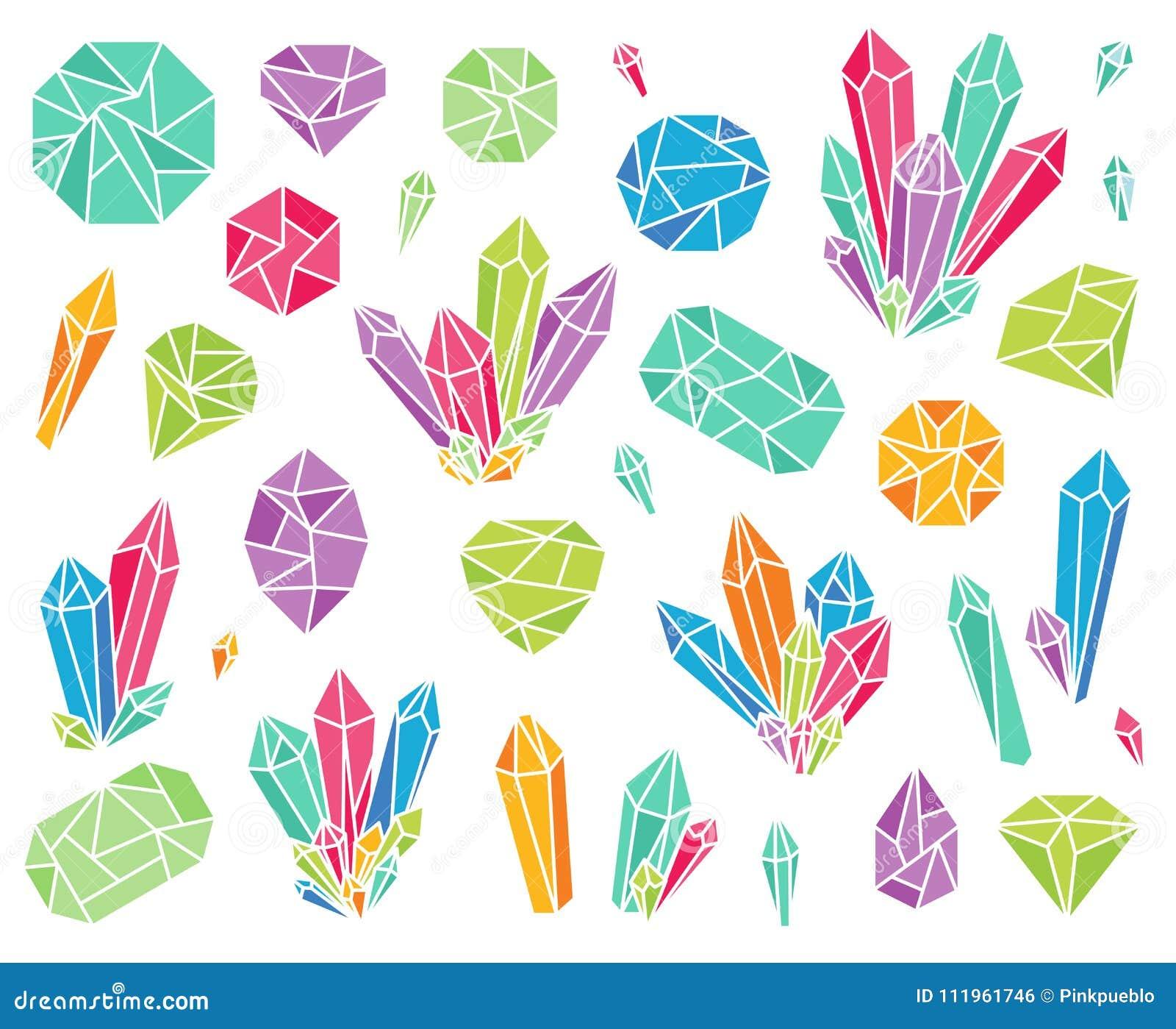 Colección del vector de cristales y de piedras preciosas hermosos
