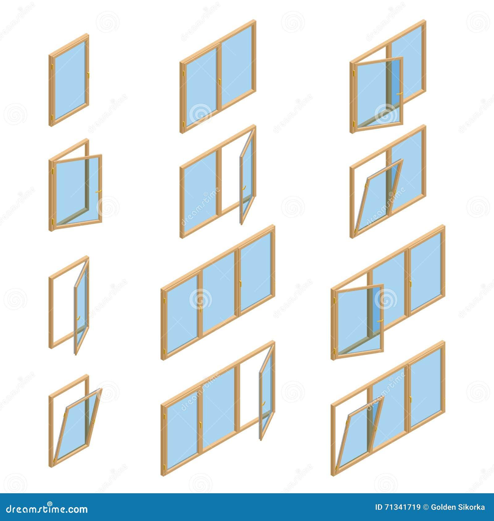 Colecci n del vector de diversos tipos de las ventanas for Tipos de cocina arquitectura
