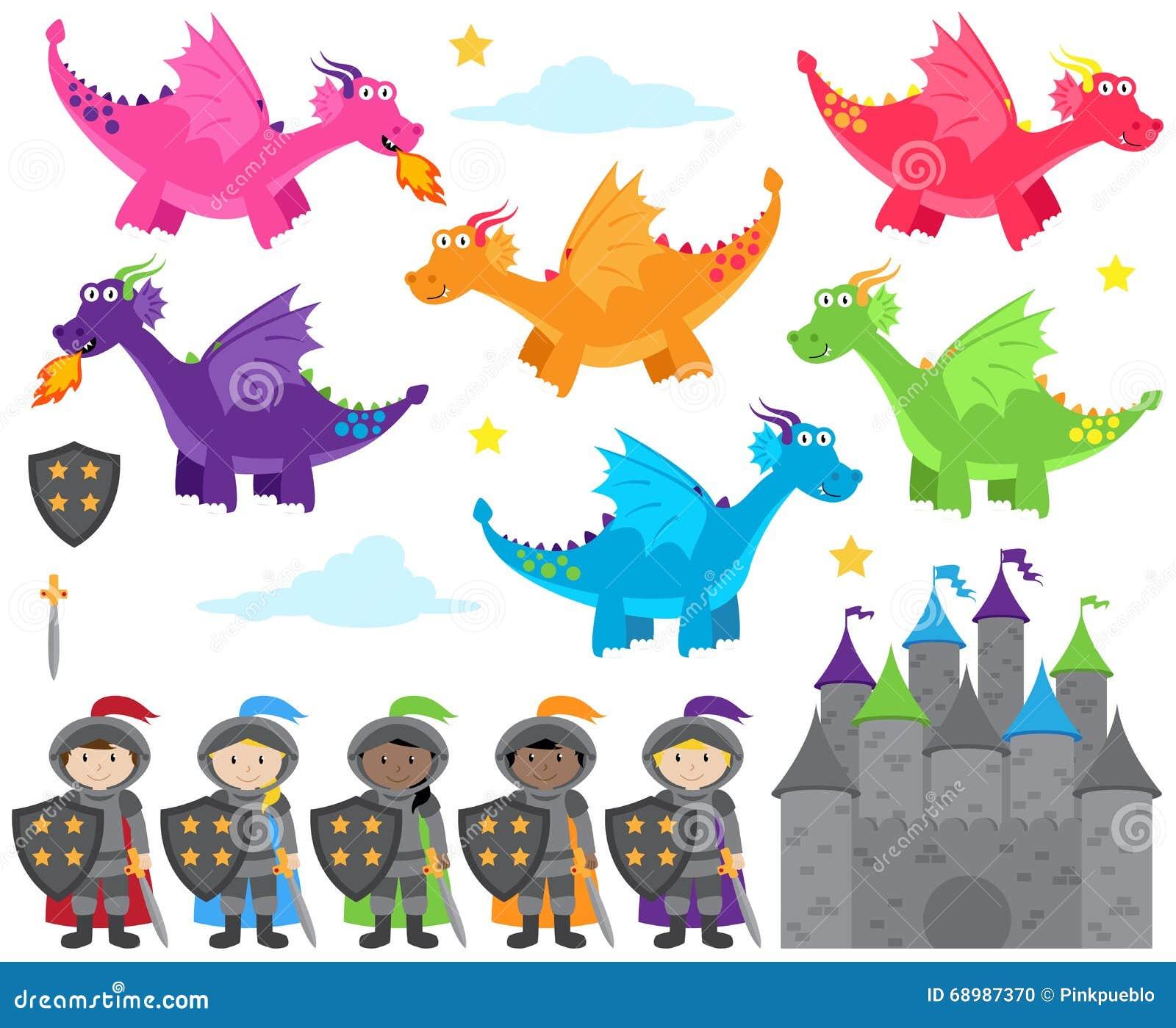 Colección del vector de imágenes temáticas del dragón y de los caballeros