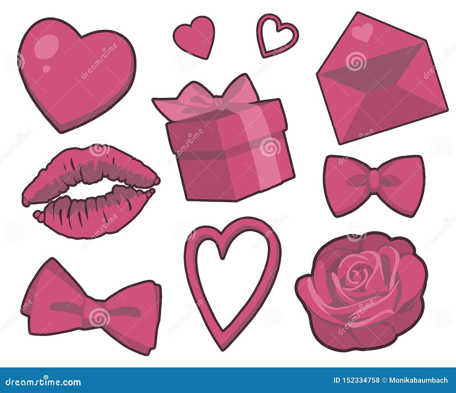 Colección del vector de la tarjeta del día de San Valentín con los corazones, los regalos, la rosa, el beso de la barra de labios
