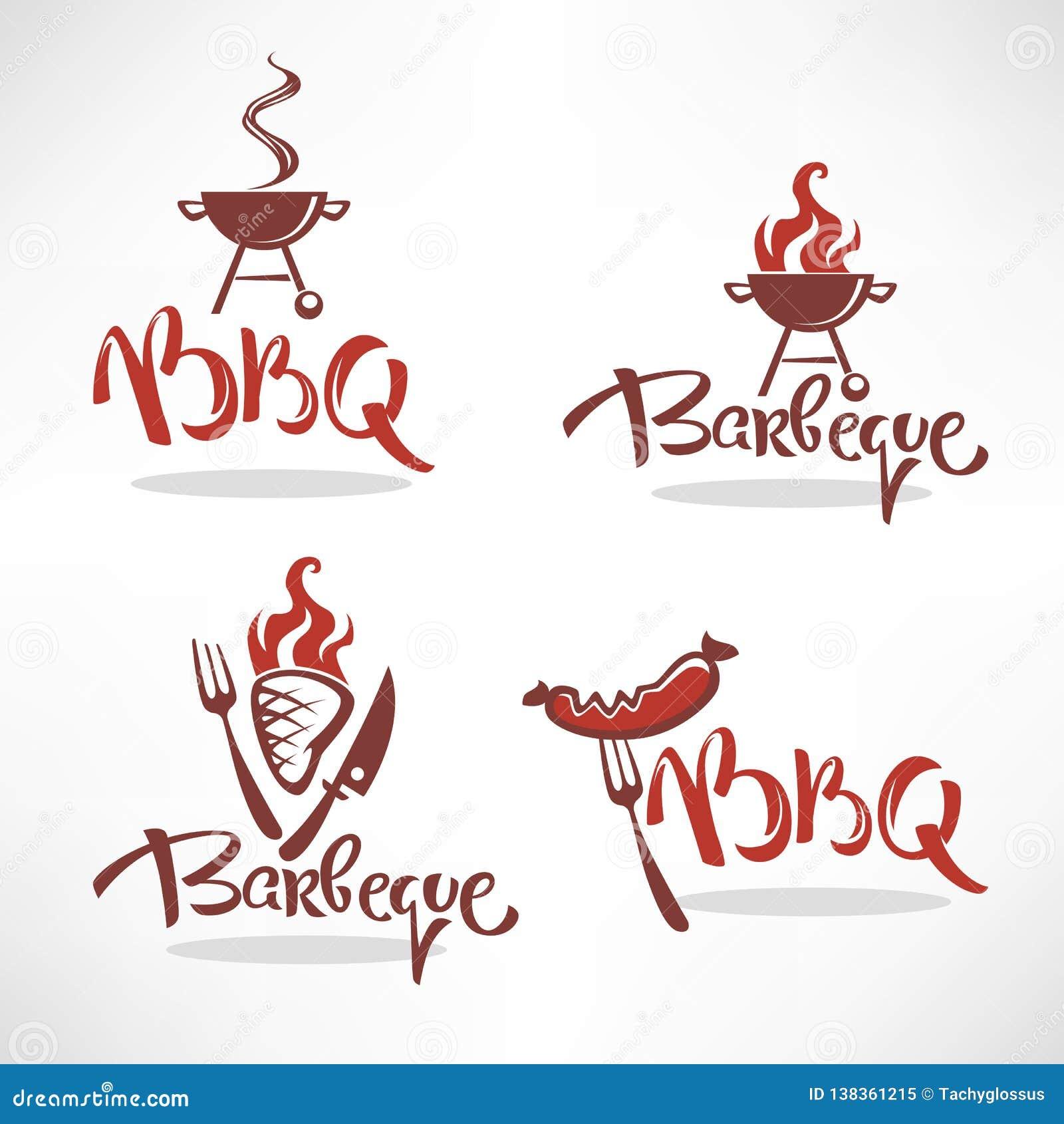 Colección del vector de logotipo, de etiquetas, de símbolos y de emblemas del Bbq con poner letras a la composición