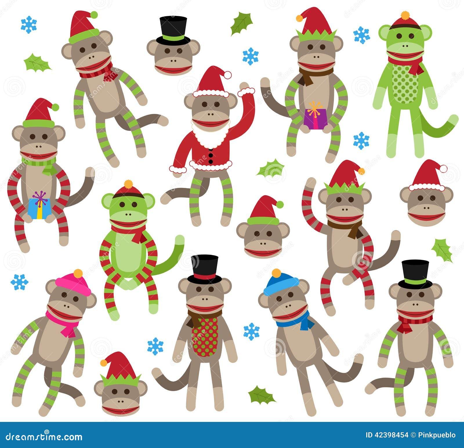 Colección del vector de monos temáticos del calcetín de la Navidad linda
