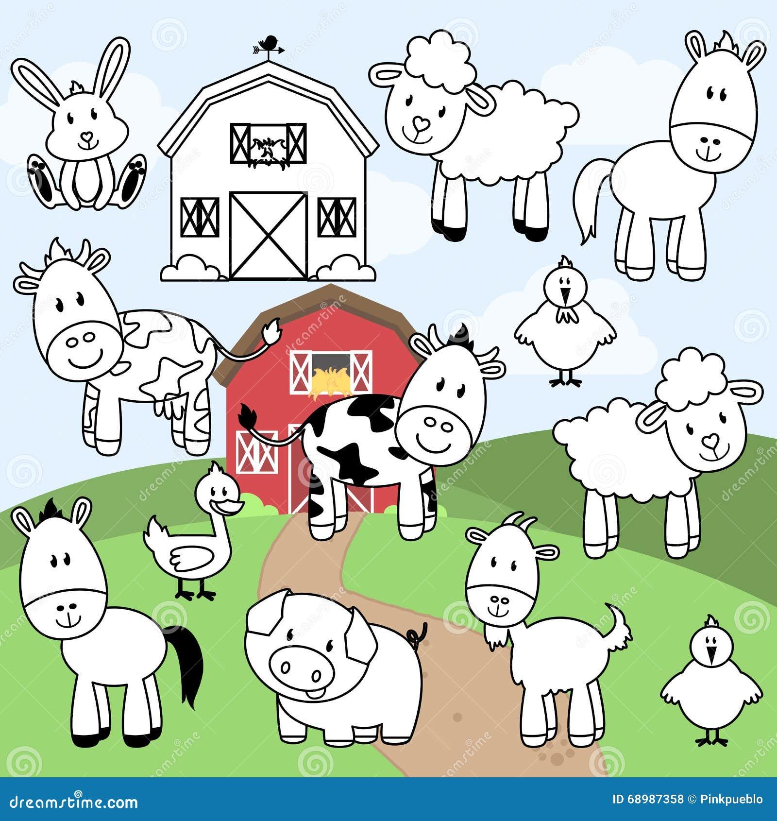 Colección del vector de sellos o de línea arte de los animales del campo
