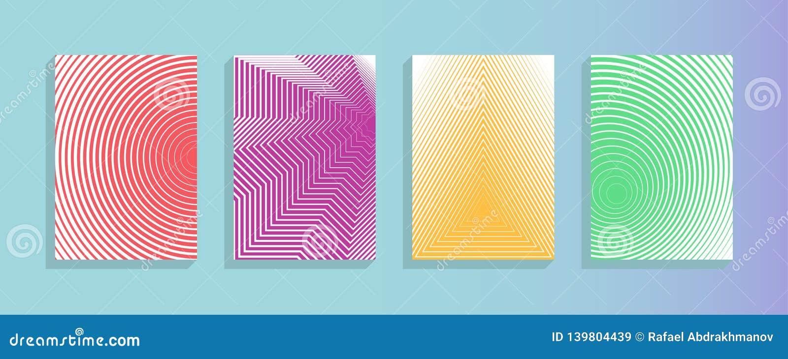 Colección del vector del diseño del informe anual Las rayas de semitono texturizan plantillas del diseño de página de la cubierta