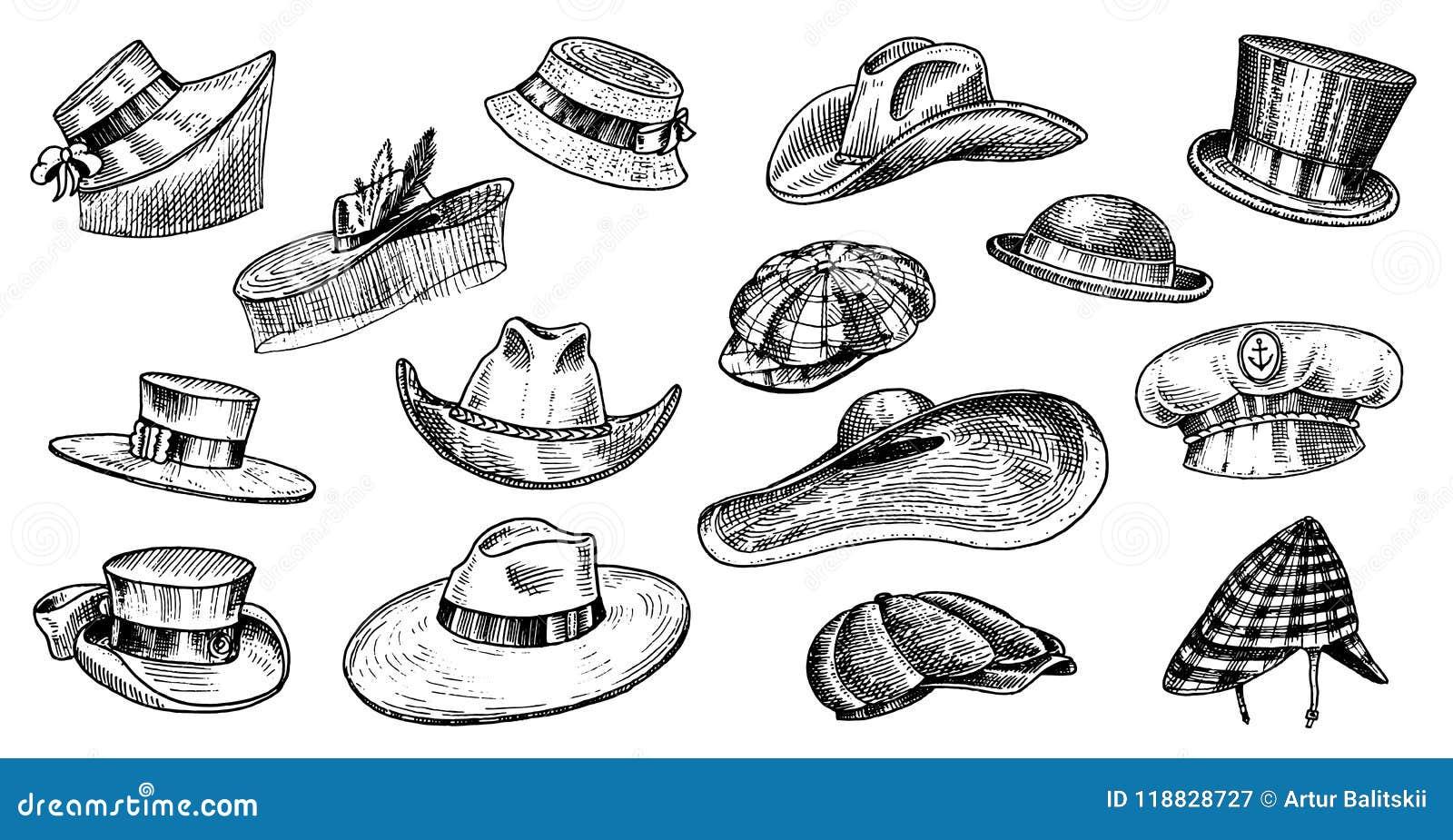 Colección Del Vintage De Los Sombreros Del Verano Para Los Hombres ... 1fe6617507e