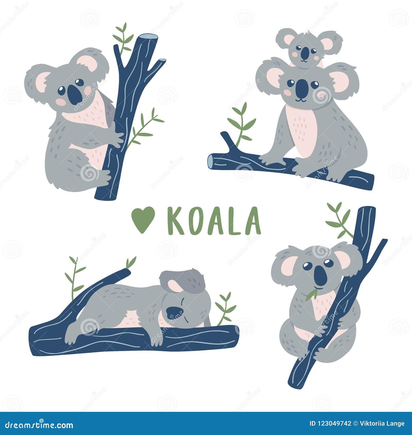 Colección Dibujada Mano De Los Osos De Koala Del Garabato Plantilla ...