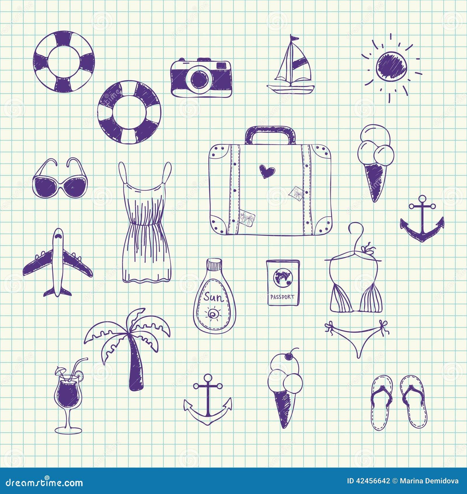 Colección dibujada mano del vector en un viaje del tema