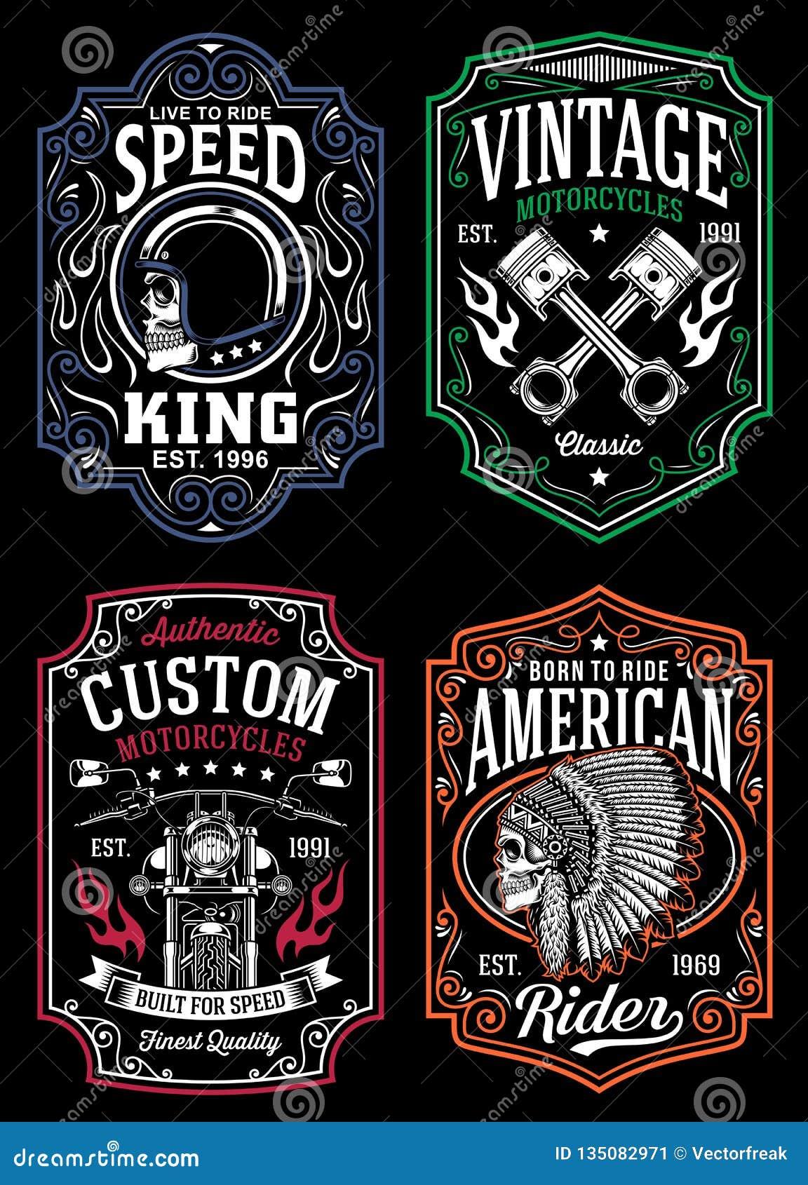 Colección gráfica de la camiseta de la motocicleta del vintage