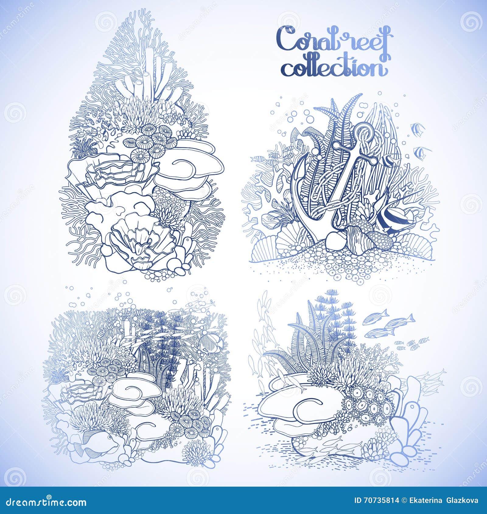 Colección Gráfica Del Arrecife De Coral Ilustración del Vector ...
