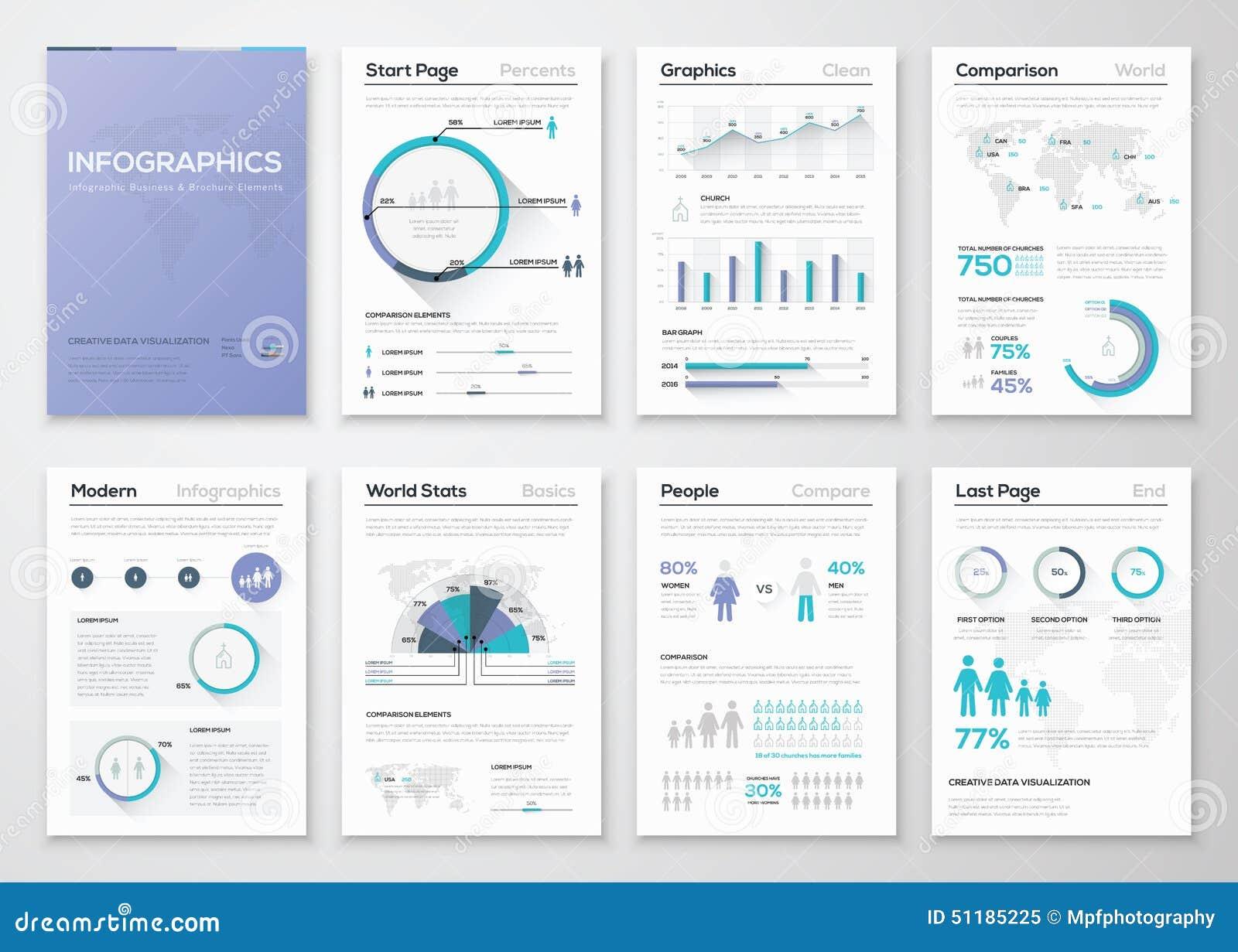 Colección grande de folletos y de gráficos infographic del negocio