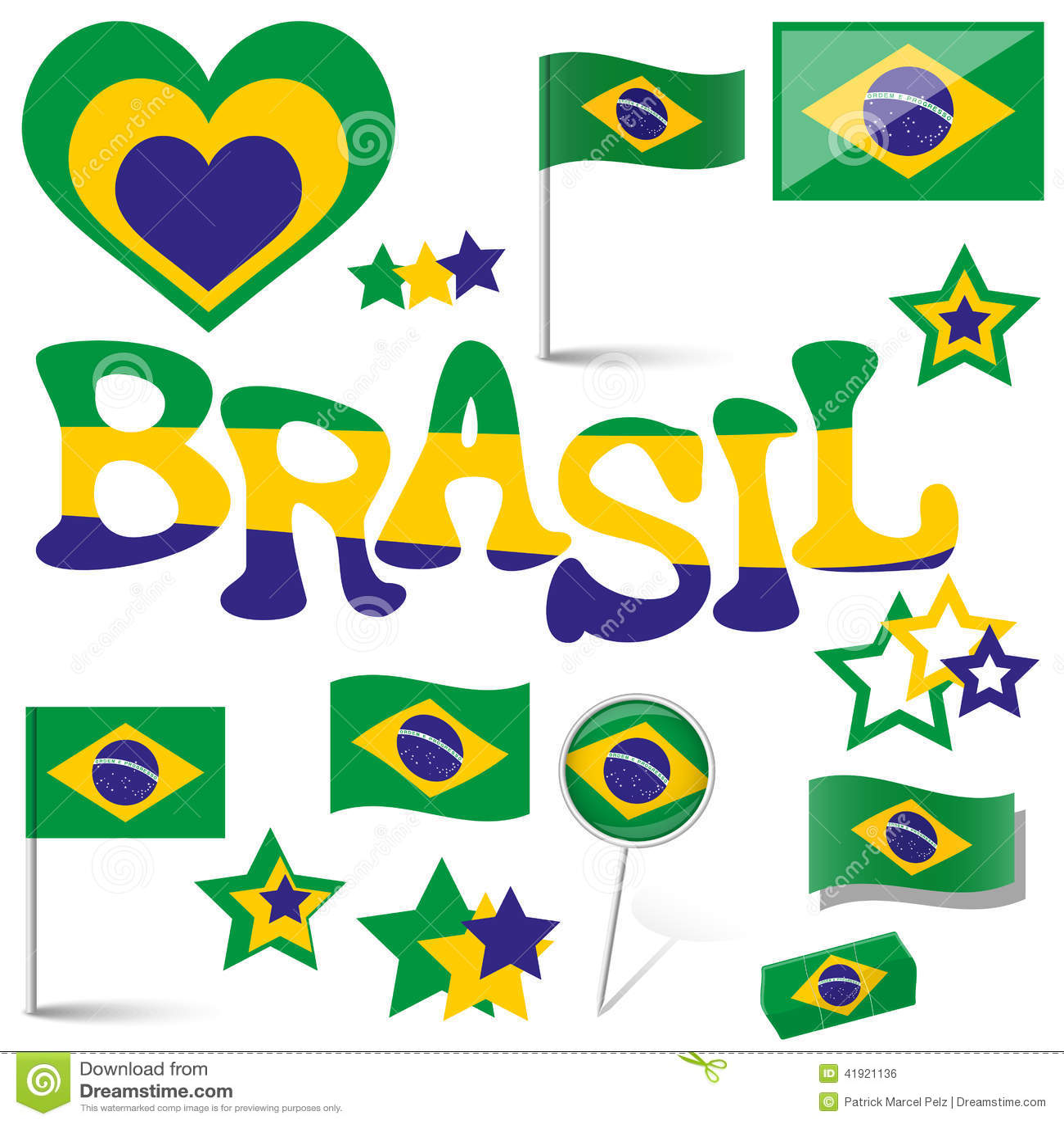 Colección - iconos del Brasil y accesorios del márketing