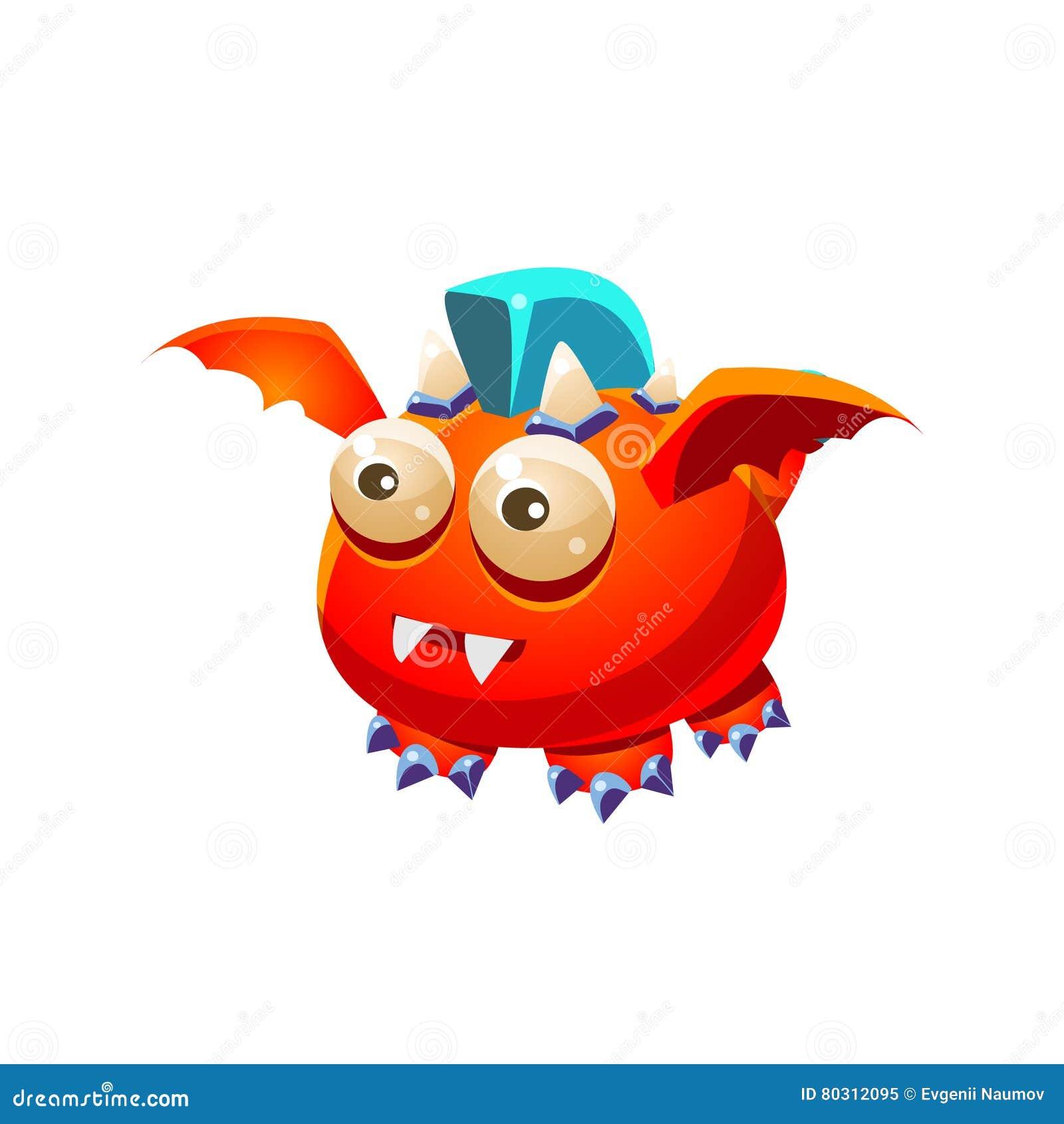 Colección imaginaria del monstruo de Dragon With Blue Mohawk Fantasy del animal doméstico amistoso fantástico rojo