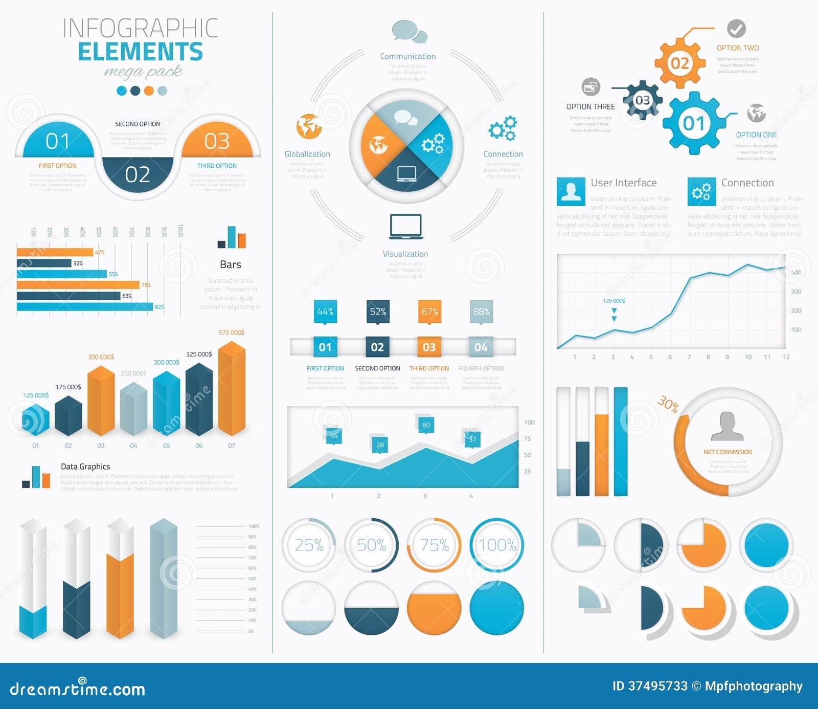 Colección infographic grande de los elementos del vector al disp