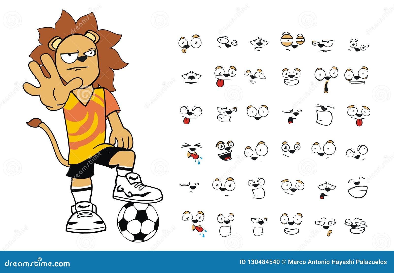 Colección joven del sistema de las expresiones de la historieta del león  del niño del fútbol f8cde5cca4a