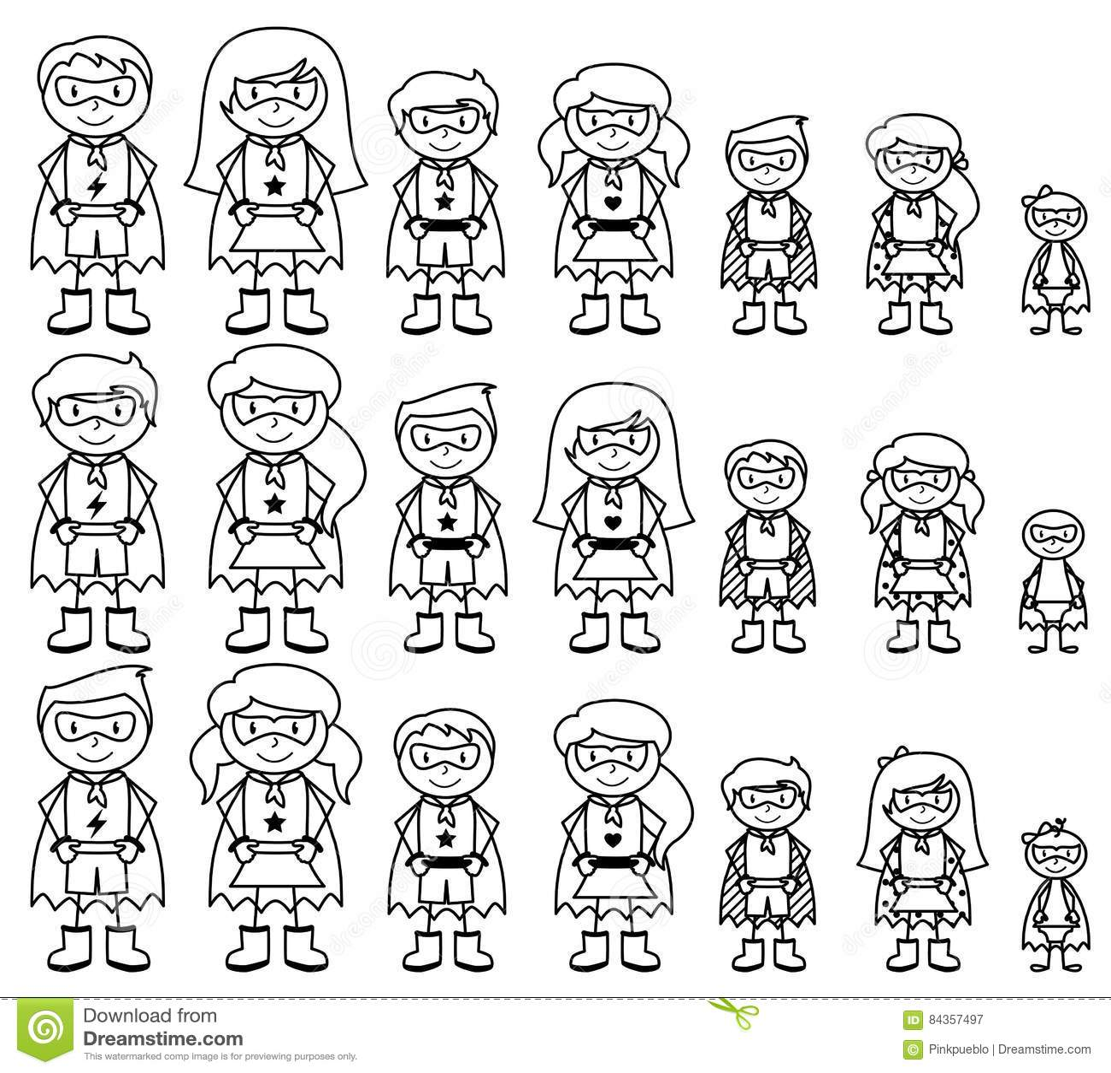 Colección linda de figura diversa super héroes del palillo o de familias del super héroe