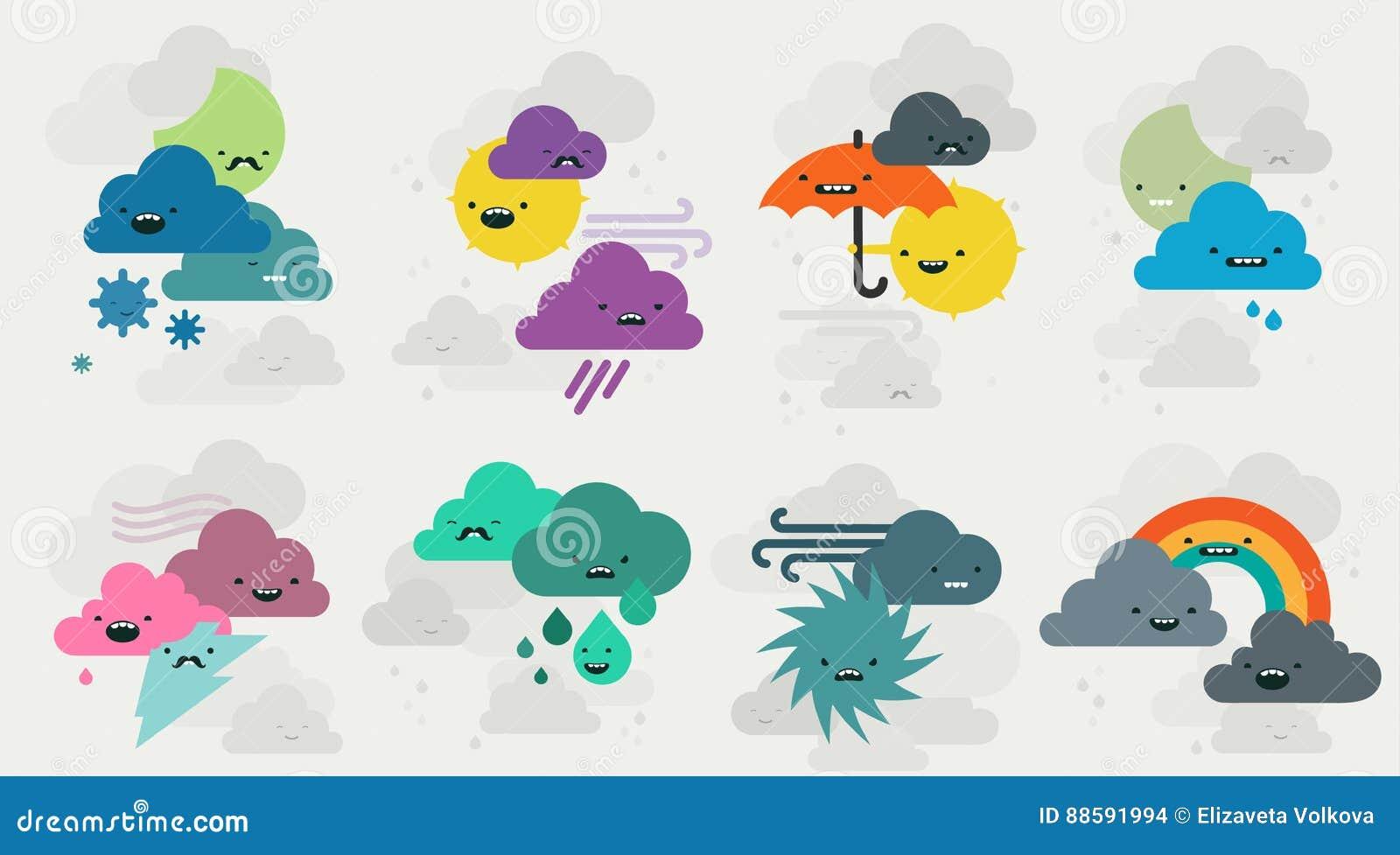 Colección linda de los caracteres de los emojis del tiempo