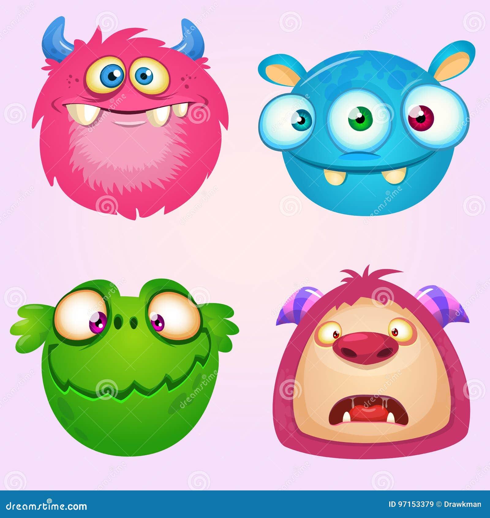 Colección linda de los monstruos de la historieta Sistema del vector de 4 iconos del monstruo de Halloween