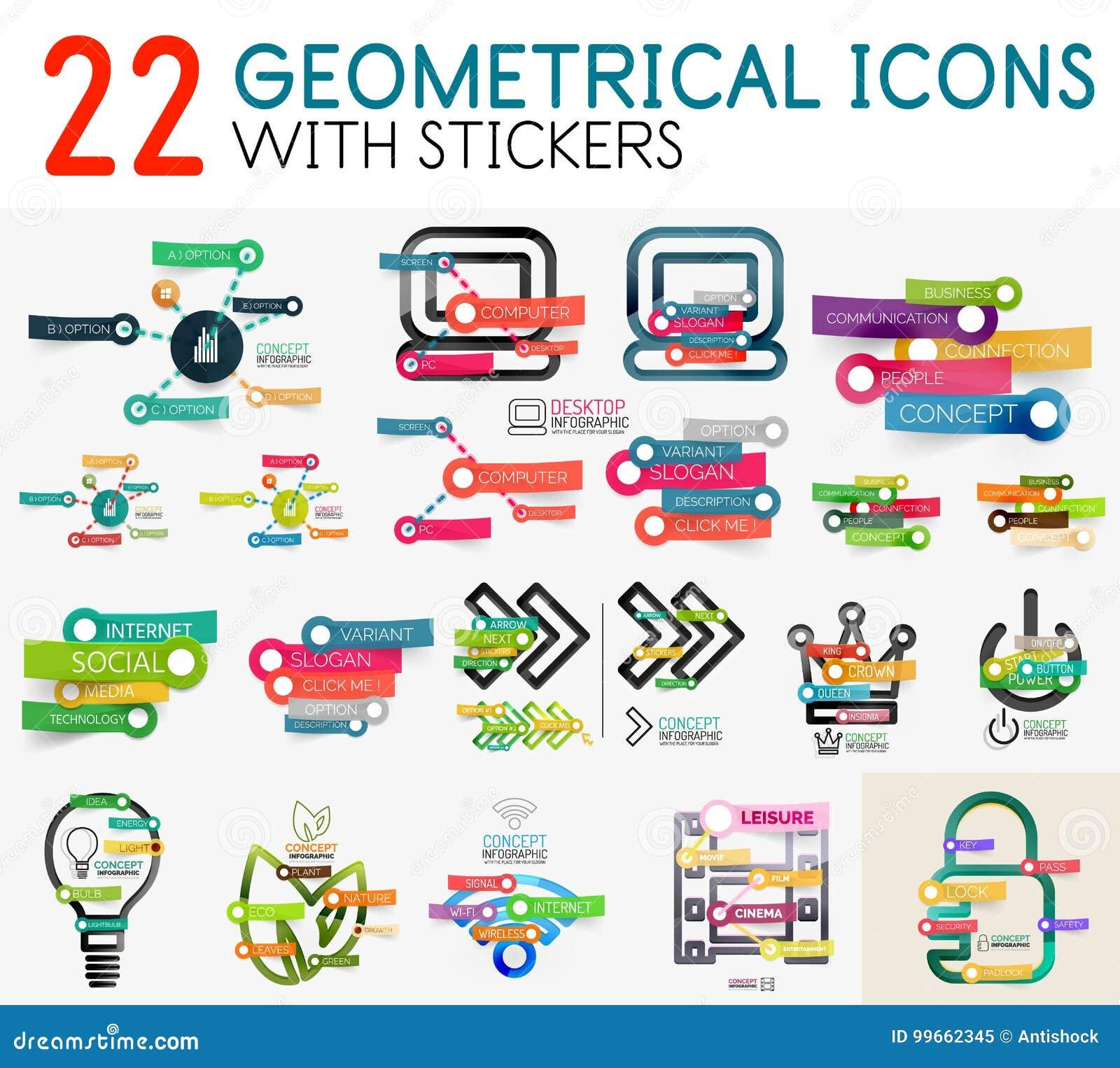 Colección mega de plantilla digital del diagrama del infographics del vector con las etiquetas engomadas