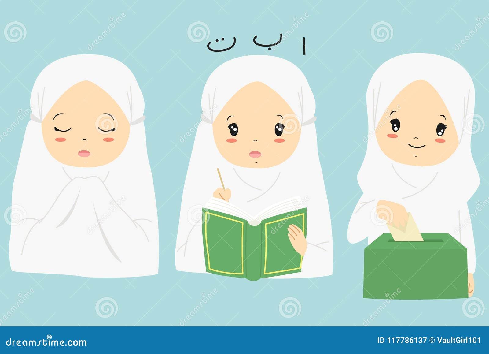 Colección musulmán del vector de la historieta de la muchacha