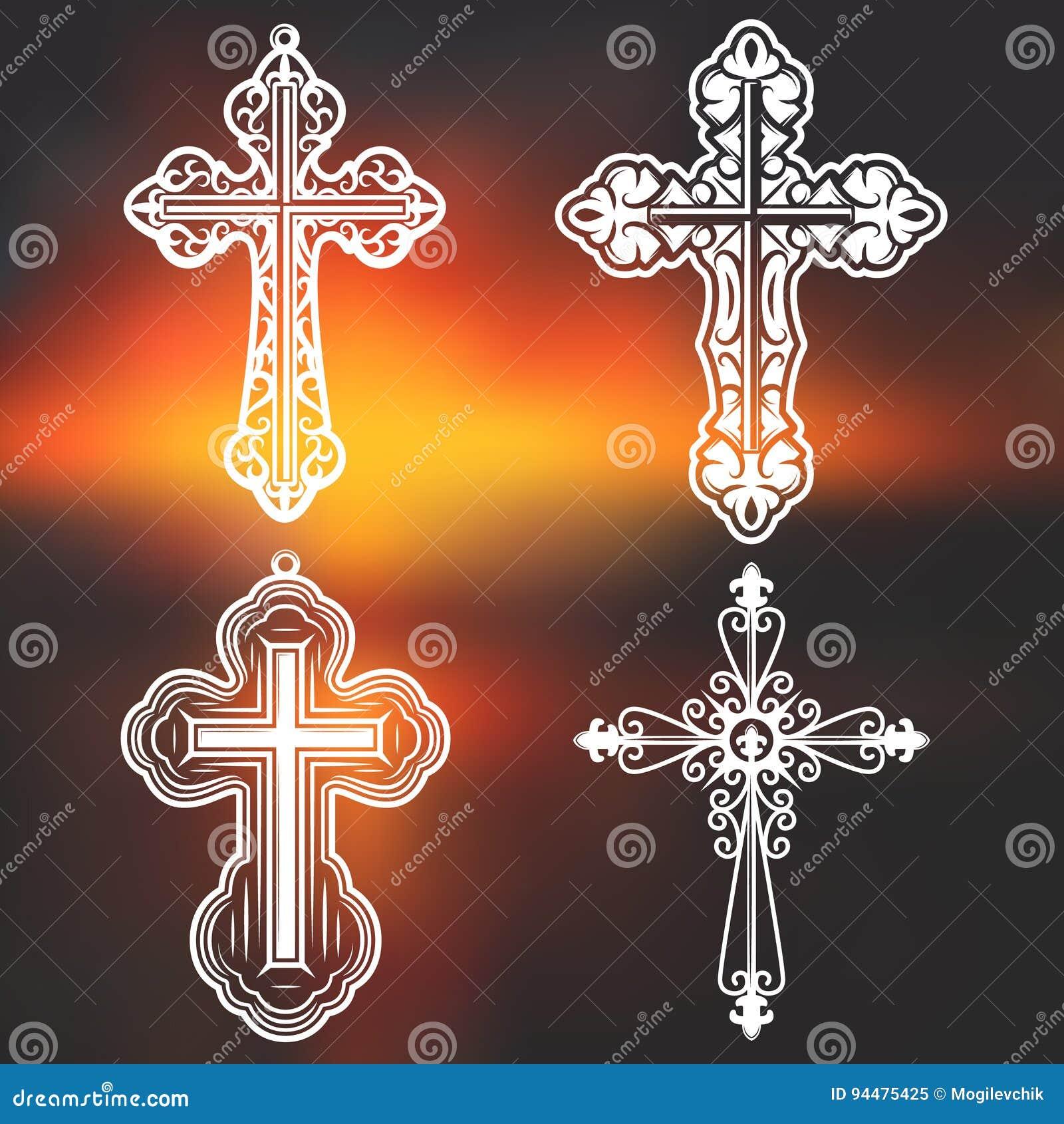 Colección religiosa adornada blanca de las cruces del vintage