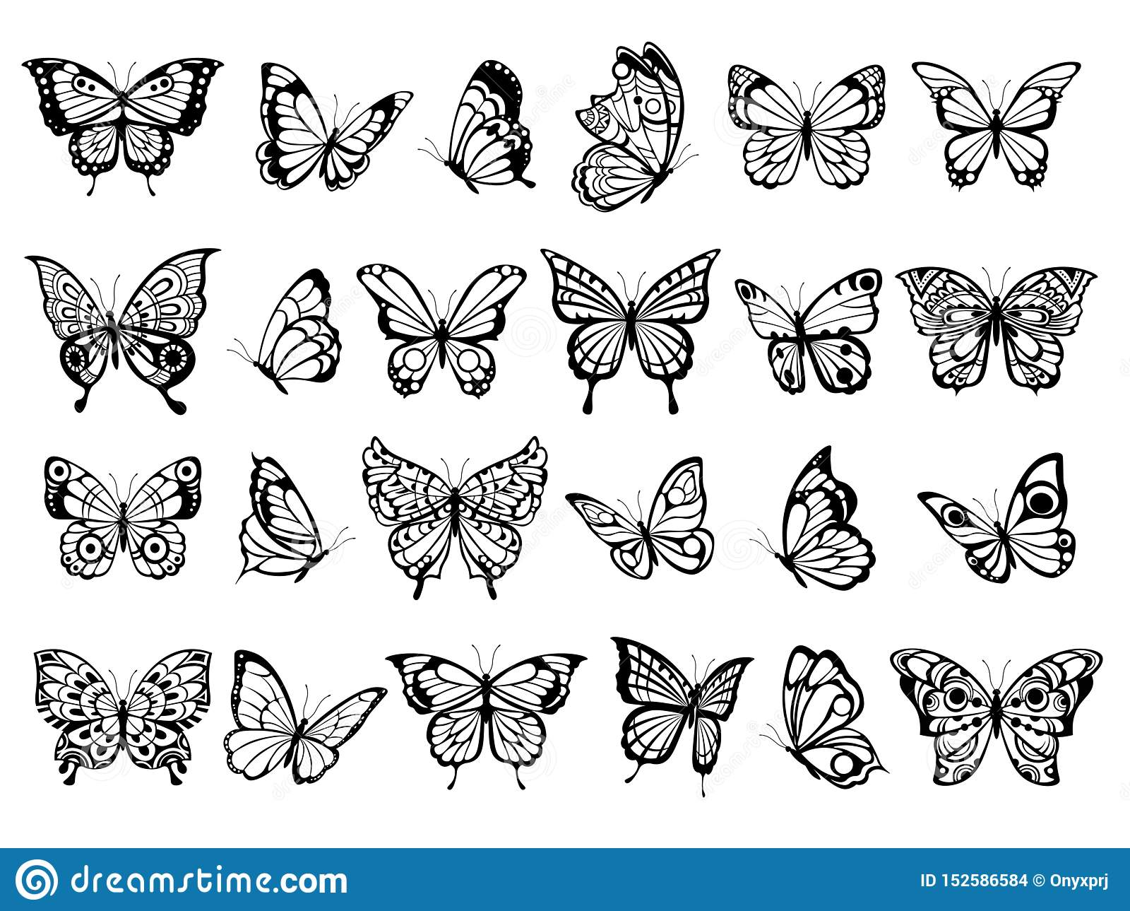 Colecci?n de la mariposa Dibujo hermoso del insecto de vuelo de la naturaleza, mariposas negras exóticas con las imágenes diverti