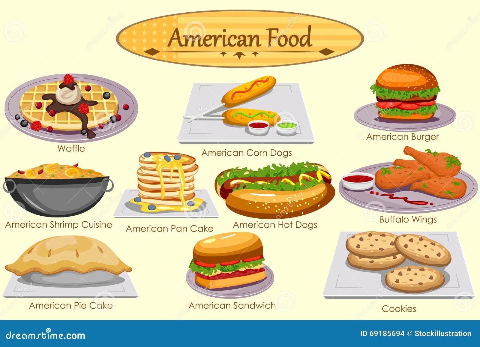 Colecci n de comida americana deliciosa ilustraci n del for Americana cuisine